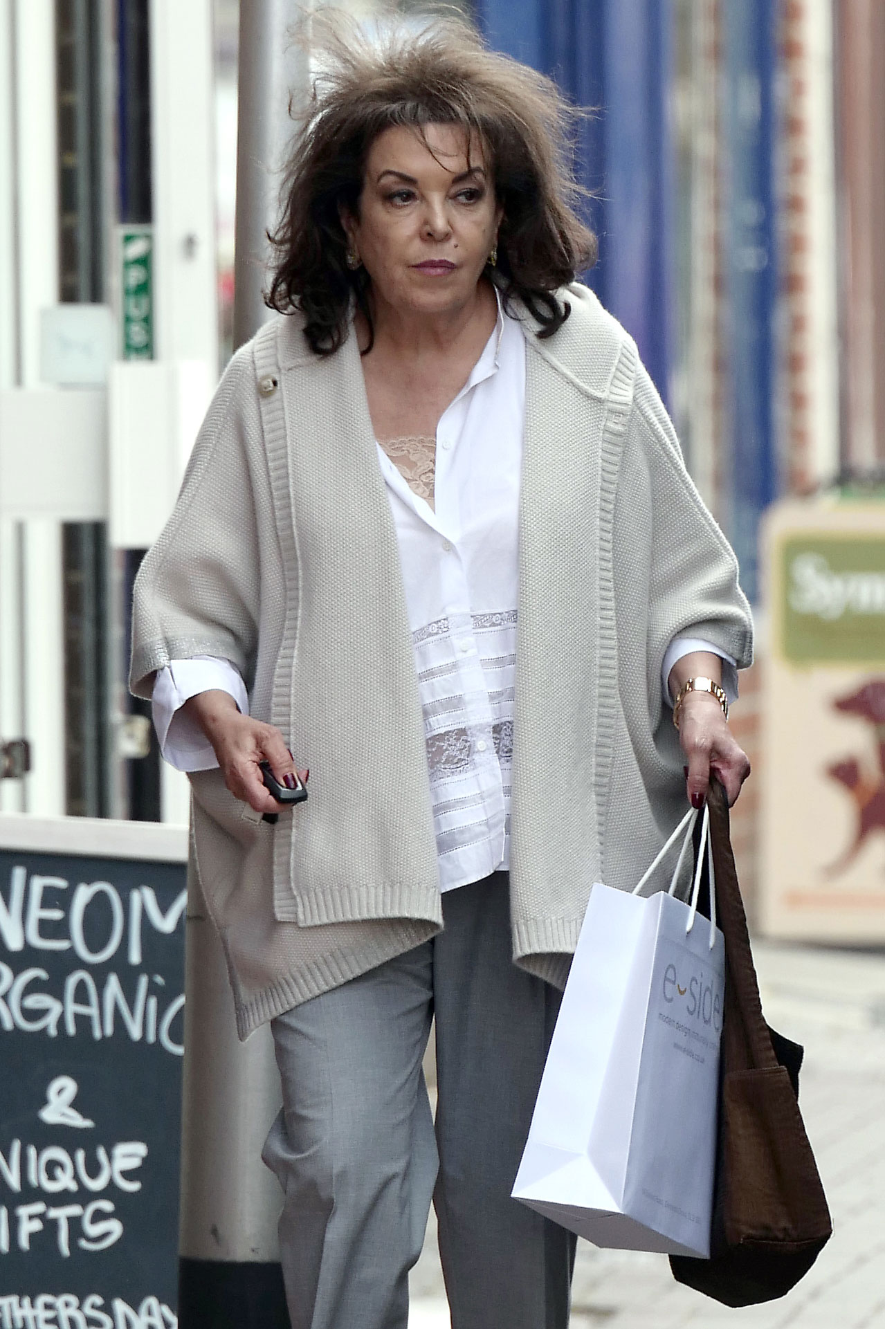 EXCLUSIVE: **PREMIUM EXCLUSIVE RATES APPLY** Amal Clooney's mother Baria Alamuddin is seen out shopping in London on the day it is announced George and Amal have given birth to twins
