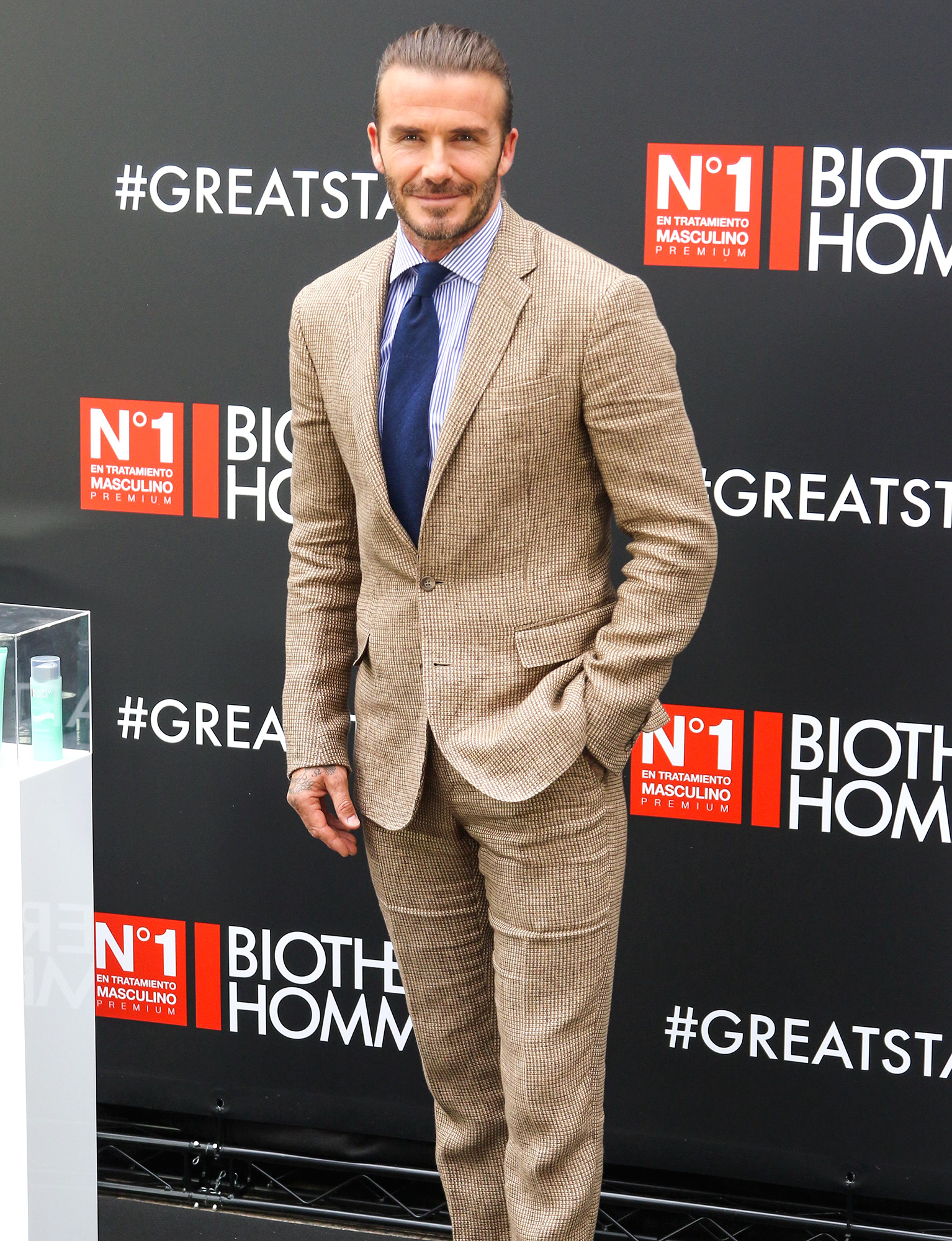 David Beckham at a Biotherm Homme Launch Event