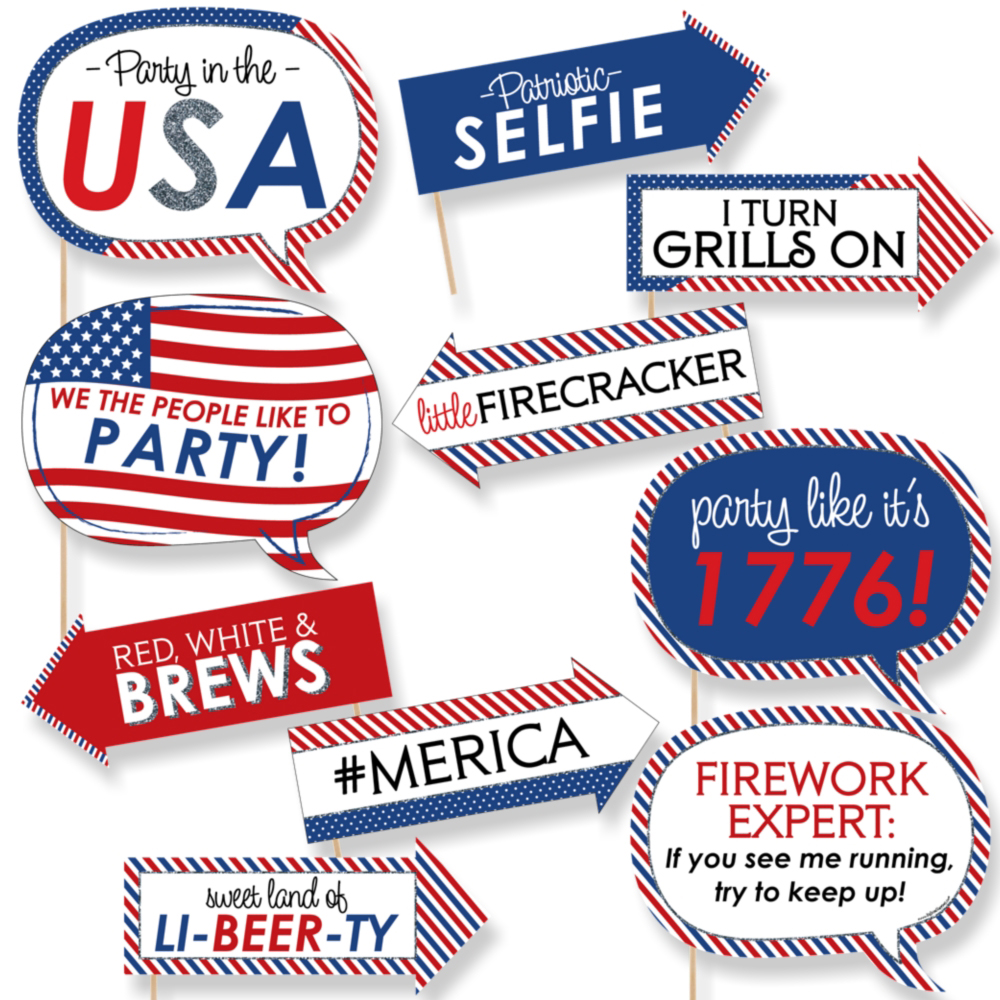 Funny-4th-of-July-10-Piece-Holiday-Party-Photo-Booth-Props-Kit