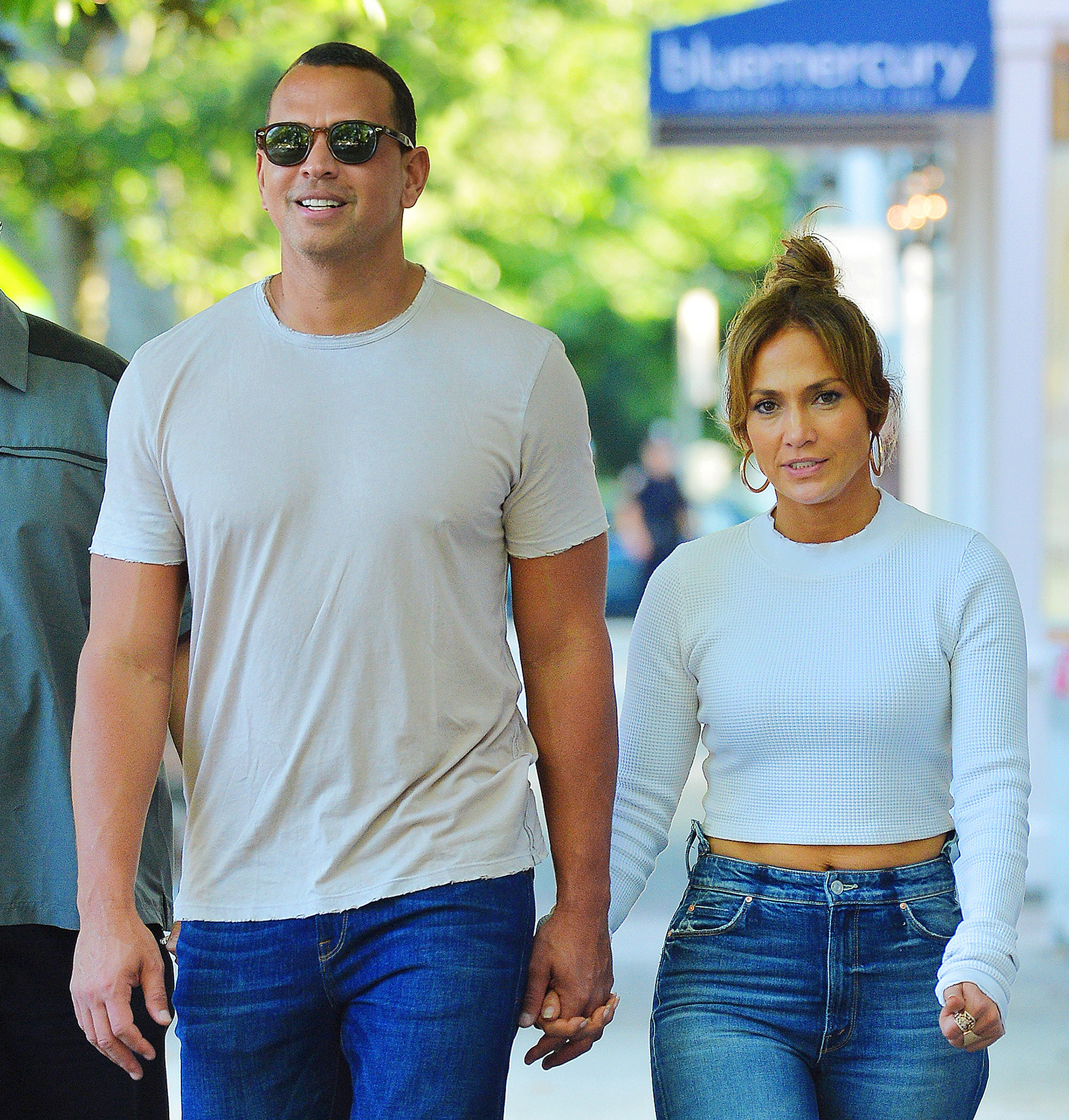Jennifer Lopez and Alex Rodriguez hold hands in the Hamptons