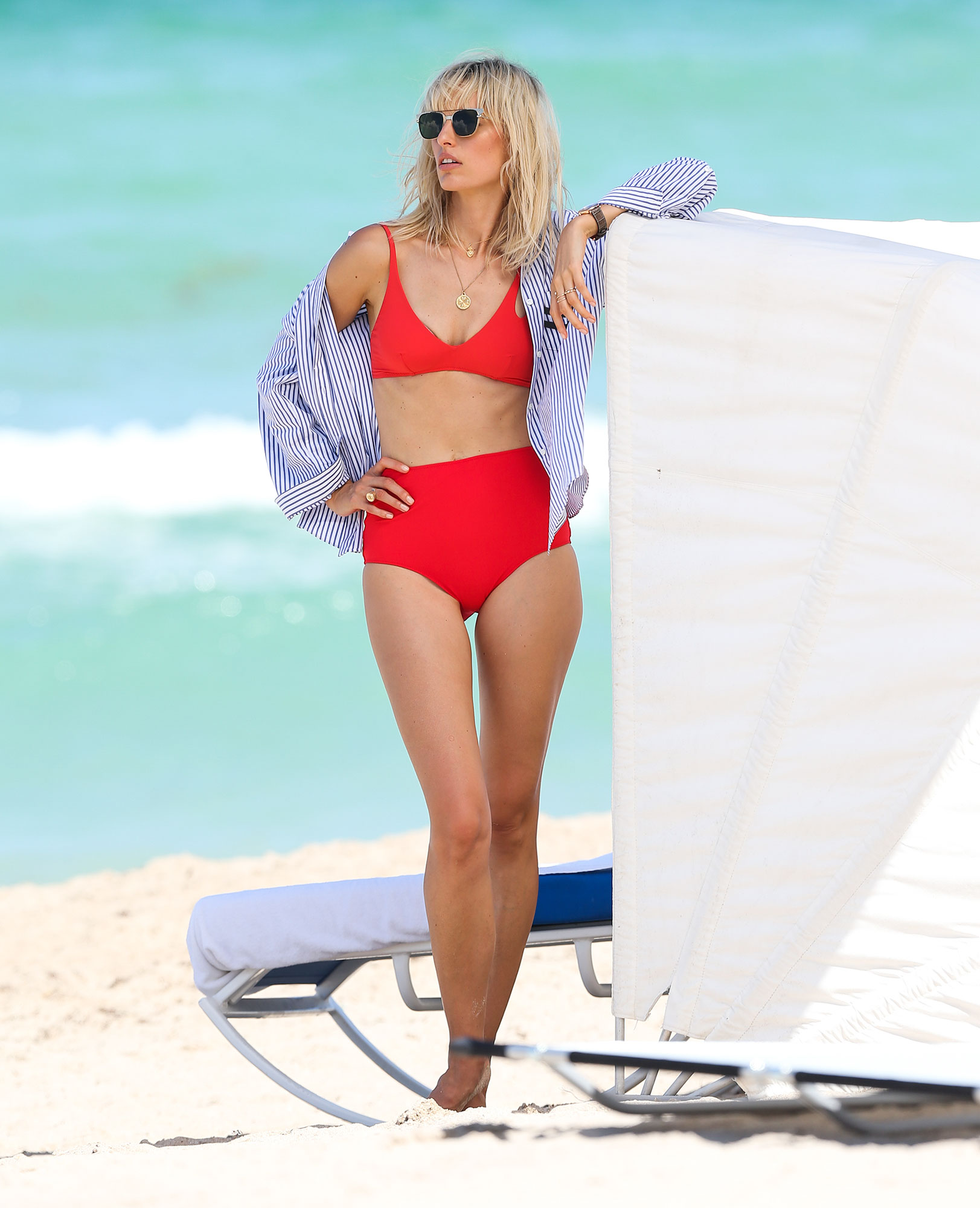 EXCLUSIVE: Karolina Kurkova shows of her supermodel figure as she poses in swimwear for a Hampton's Magazine photo shoot on Miami Beach