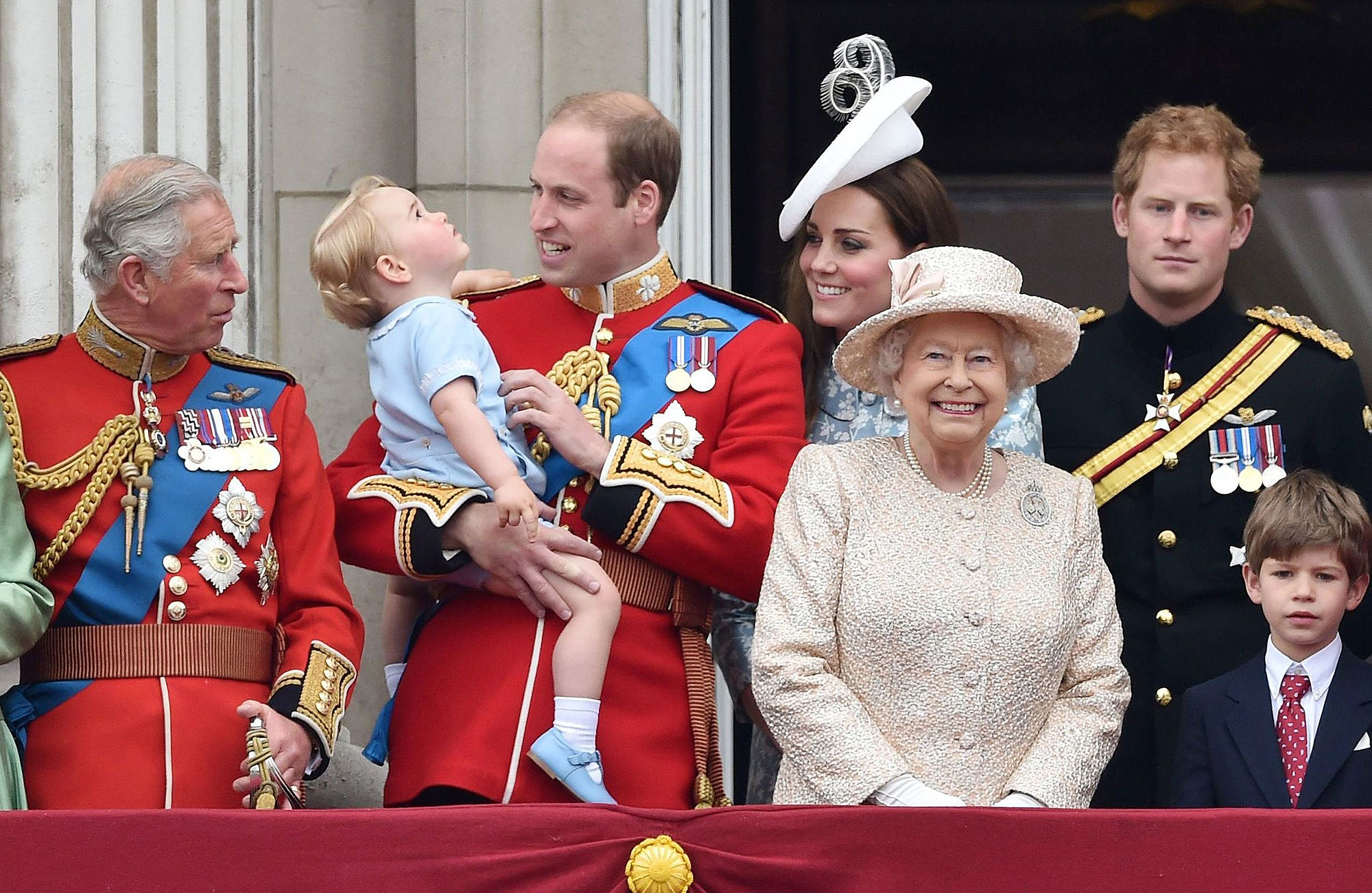 Mandatory Credit: Photo by Tim Rooke/REX Shutterstock (2735684by) Prince Charles, Prince William, Prince George, Catherine Duchess of Cambridge, Queen Elizabeth II, Prince Harry and James Viscount Severn Trooping the Colour ceremony, London, Britain - 13 Jun 2015