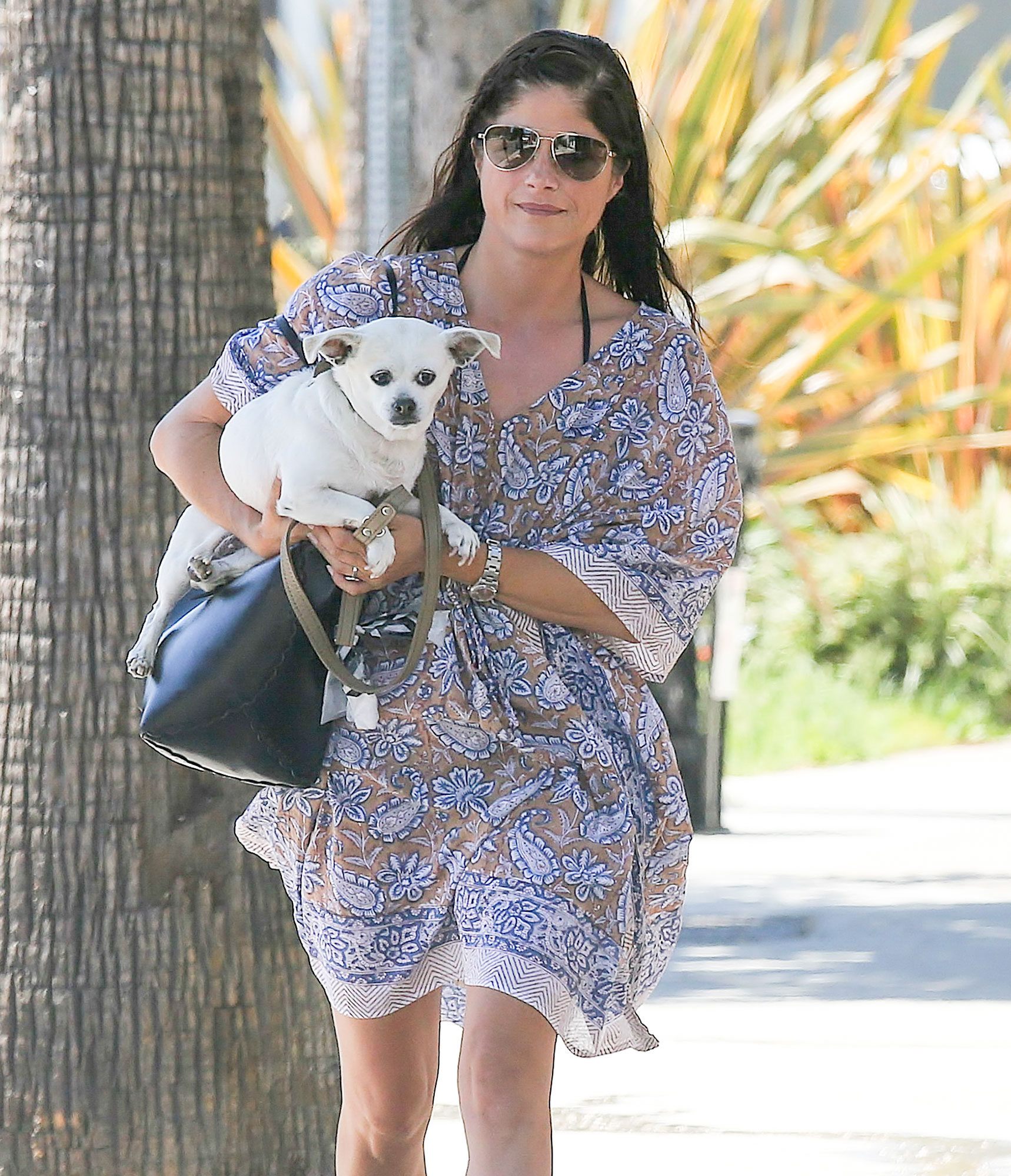 EXCLUSIVE: Selma Blair gives her dog a lift in Studio City, California