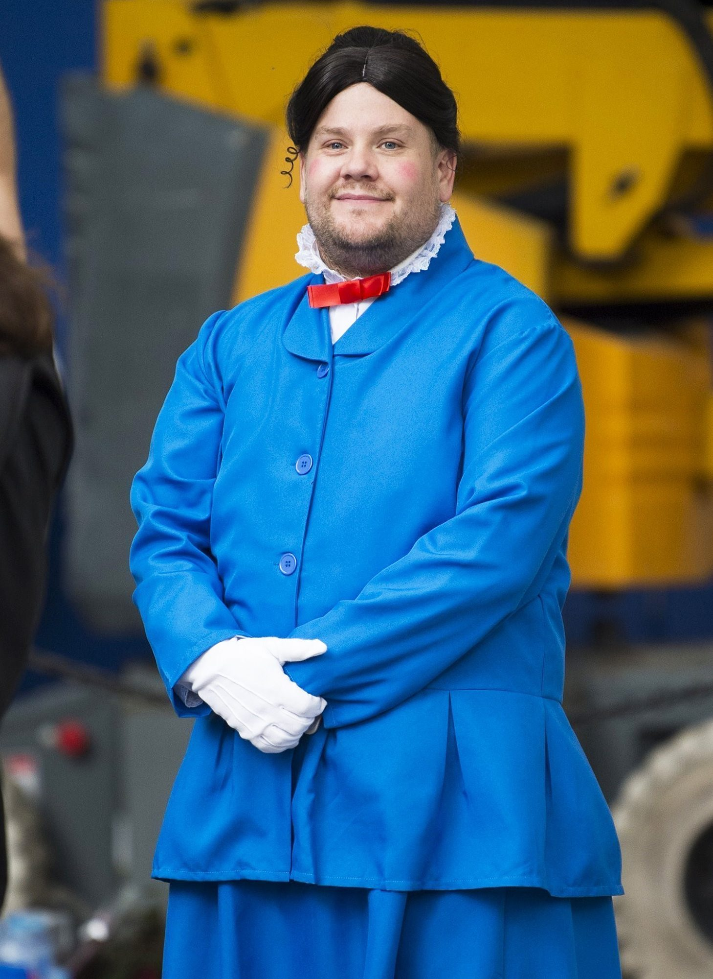James Corden and Ben Kingsley film a 'Marry Poppins' sketch in London