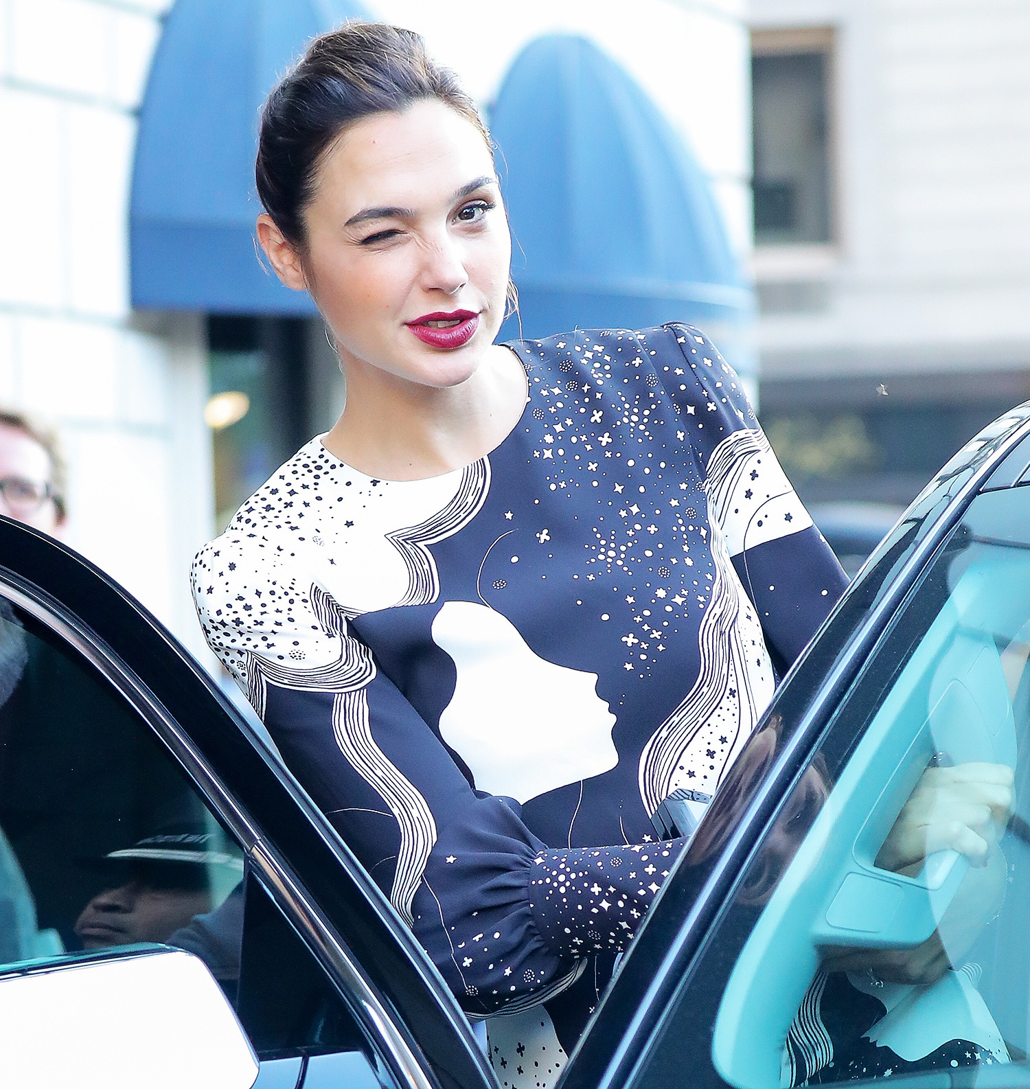 EXCLUSIVE: Gal Gadot winks her eye while heading out in New York City