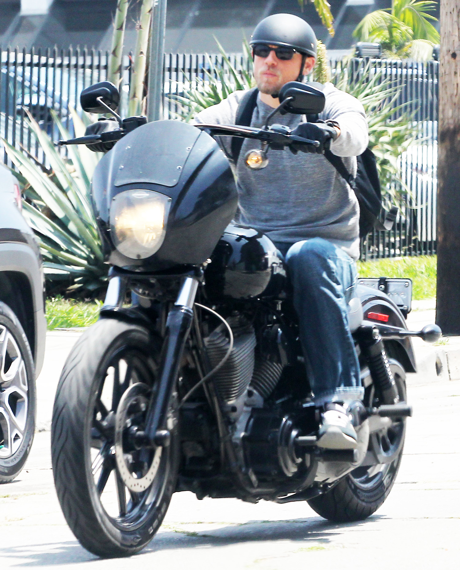 EXCLUSIVE: Charlie Hunnam, star of latest movie 'King Arthur: Legend of the Sword' and the 'Sons of Anarchy' TV series rides his Harley Davidson motorcycle while running errands in Los Angeles
