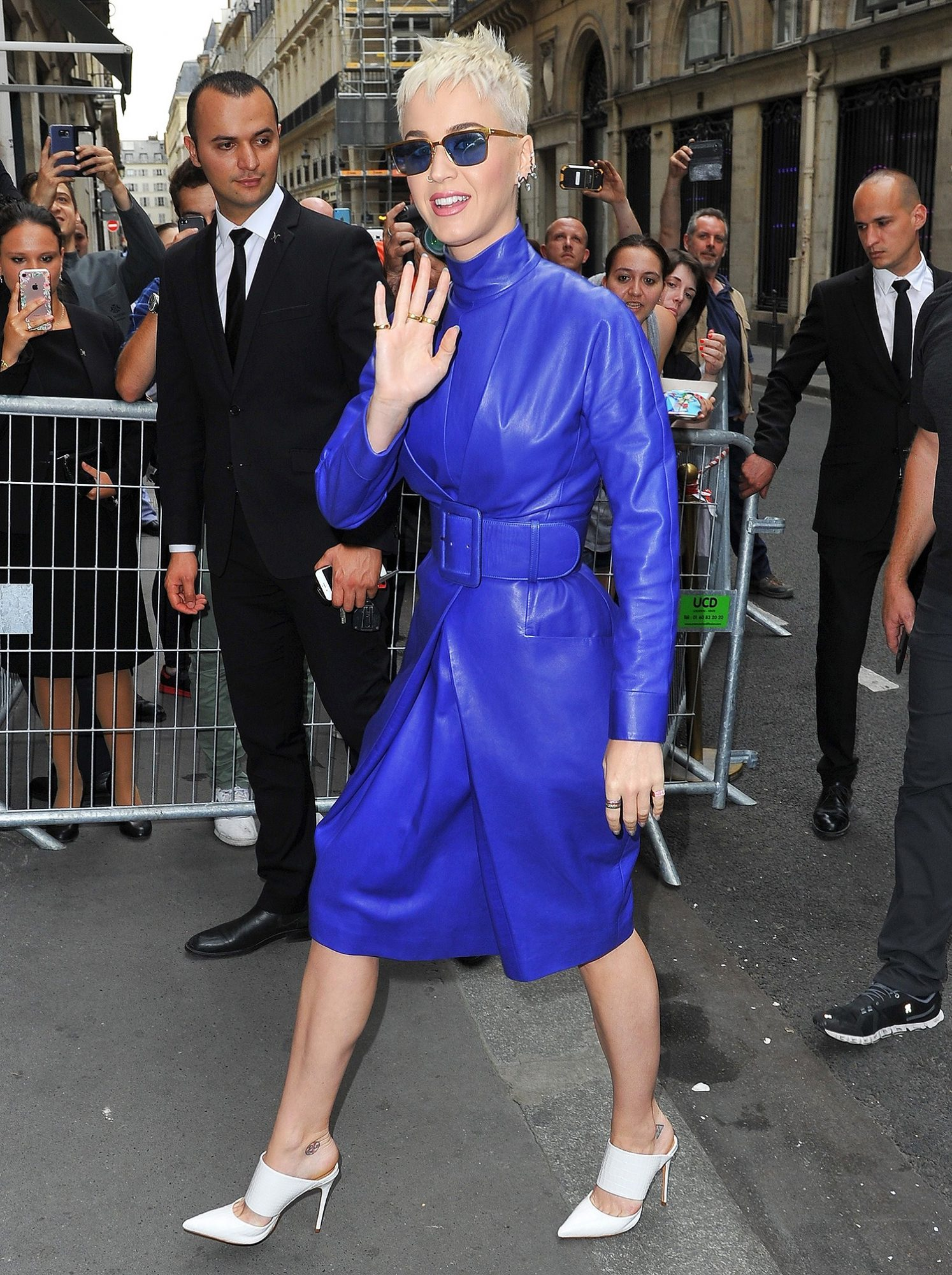 Katy Perry arrives at her hotel in an electric blue dress