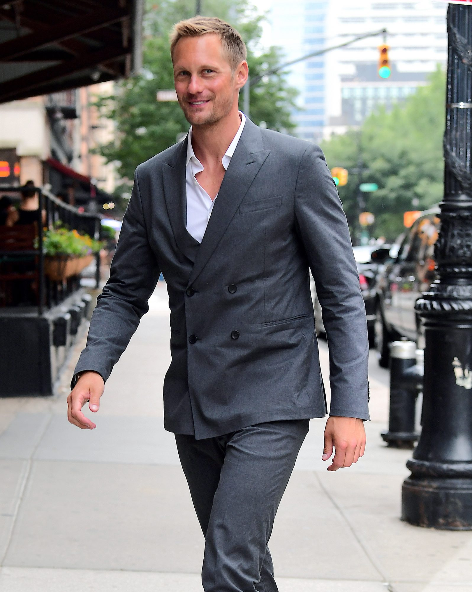 Alexander Skarsgard Looks Dapper in Grey Suit after Attending Mens Fashion Week in NYC