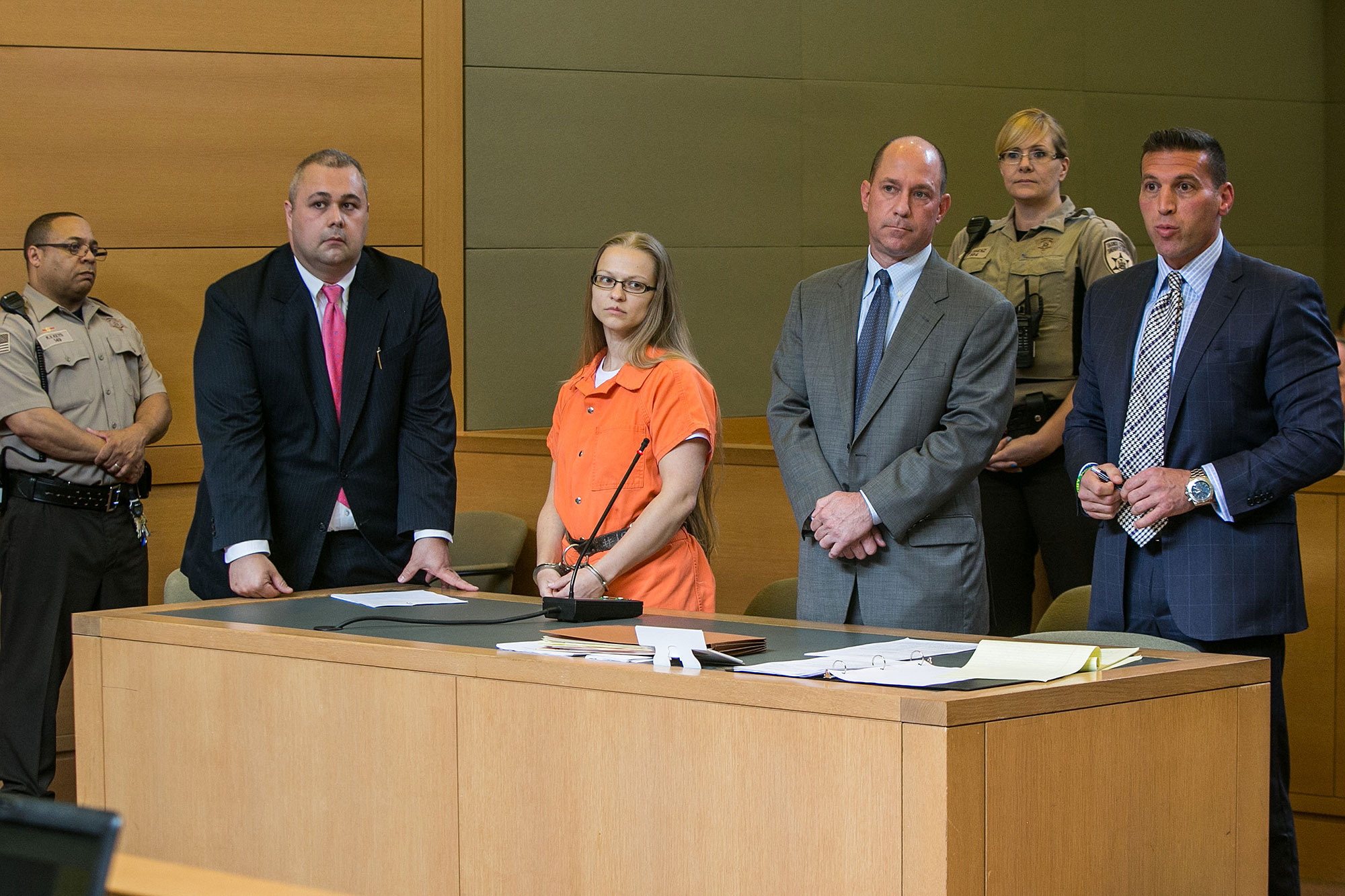 Angelika Graswald stands in court with Michael Archer a foresnsic scientist and her attorneys Jeffrey Chartier and Richard Portale ask for bail and to unseal the indictment against her at her bail hearing in Goshen, NY on May 13, 2015.  Ms. Graswald has b