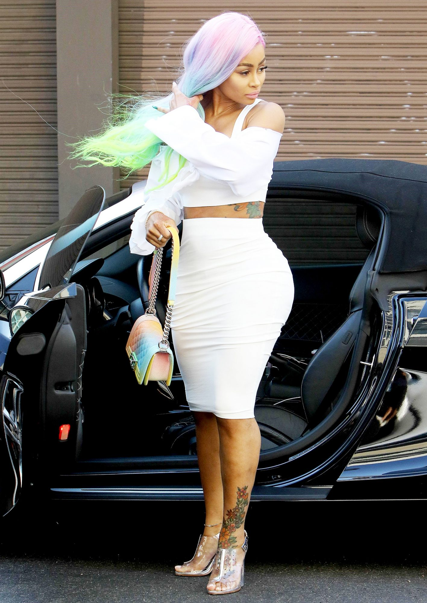 Blac Chyna wows in white as she heads to a photoshoot