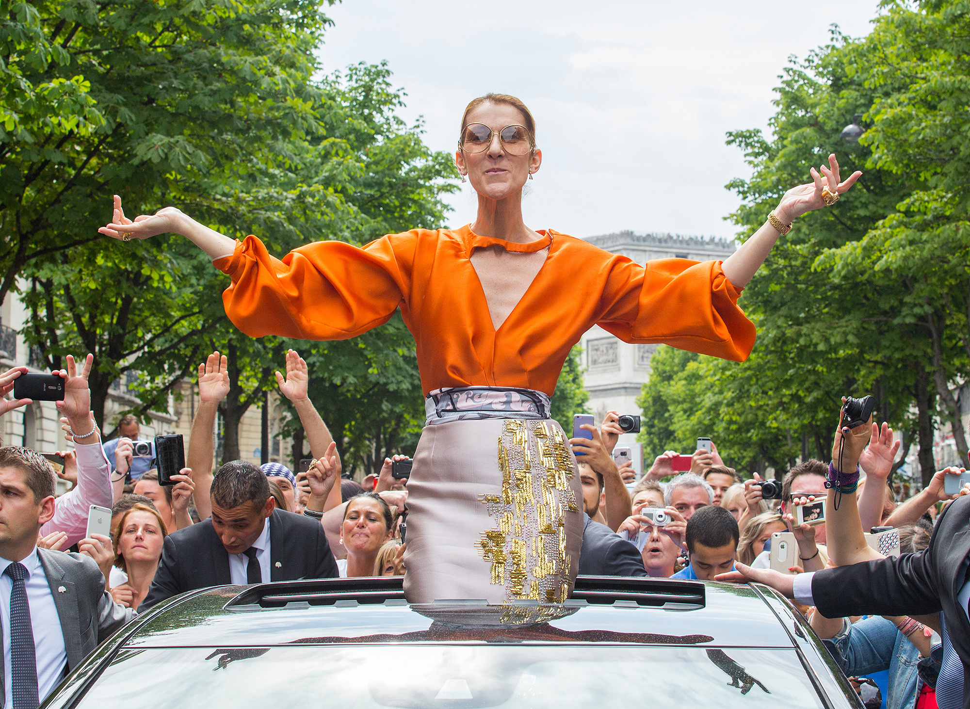 Celine Dion Greets French Fans on her way to her Final Concert in the City