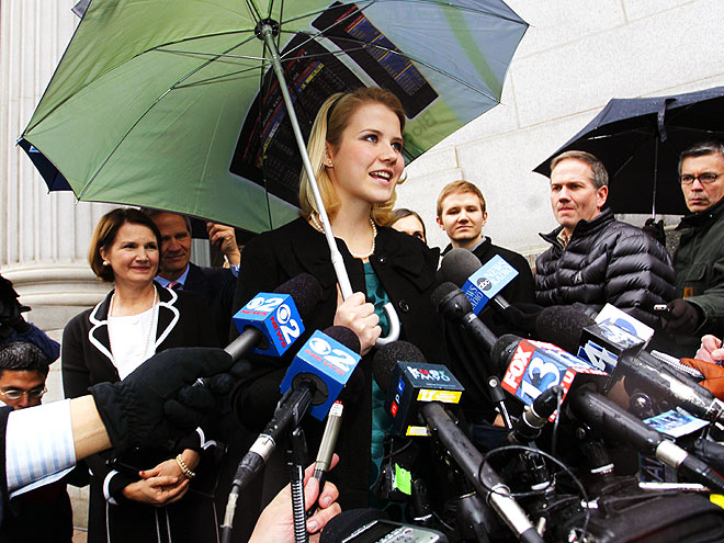 Elizabeth Smart addresses the media outside the federal court house following the guilty verdict in the Brian David Mitchell trail Friday, Dec. 10 2010 in Salt Lake City.