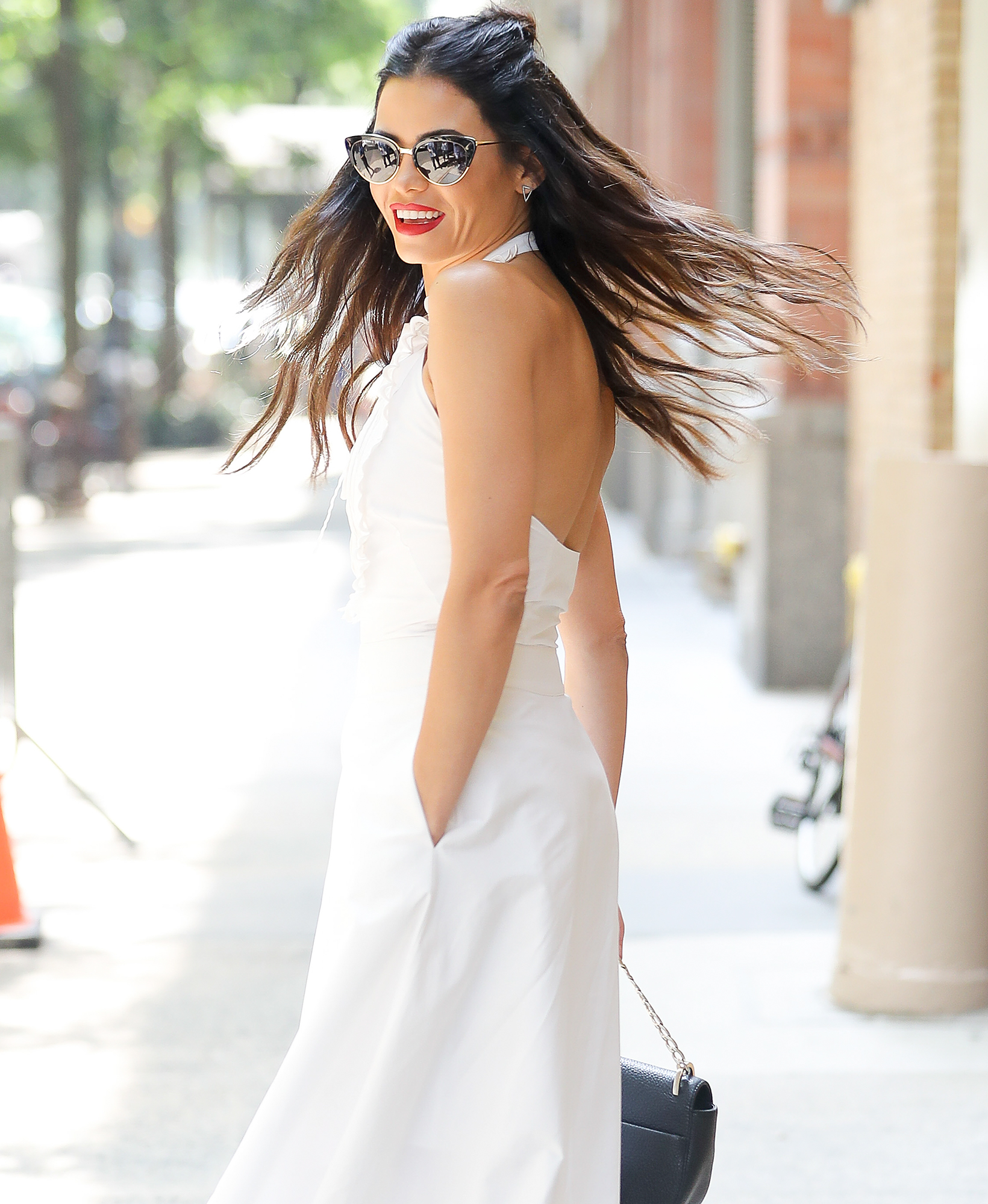 Jenna Dewan is seen posing outside the Live with Kelly and Ryan studios in New York City