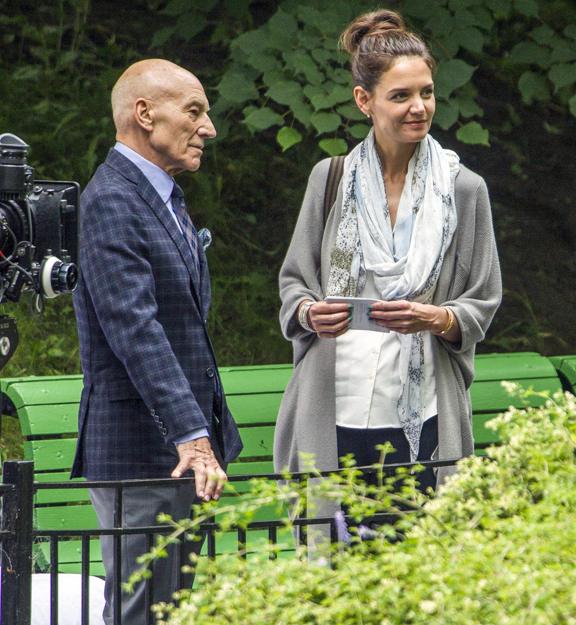 EXCLUSIVE: Katie Holmes and Patrick Stewart Film a Scene in a Montreal Park