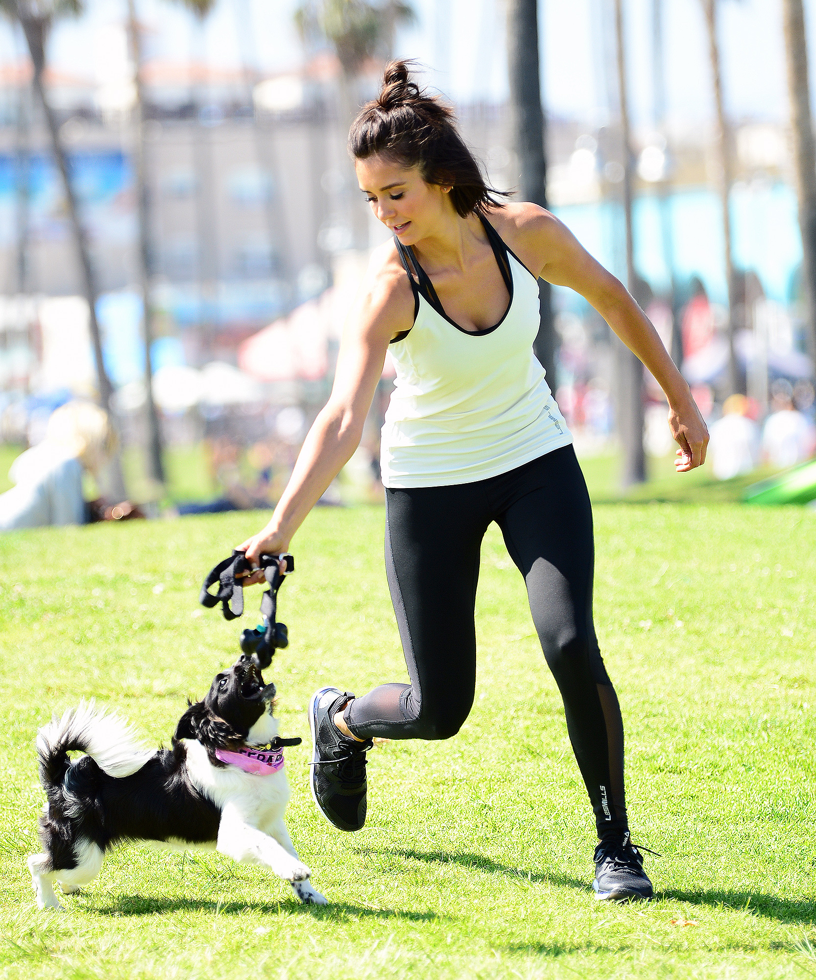 EXCLUSIVE: Nina Dobrev spends time with her newly adopted puppy Maverick!