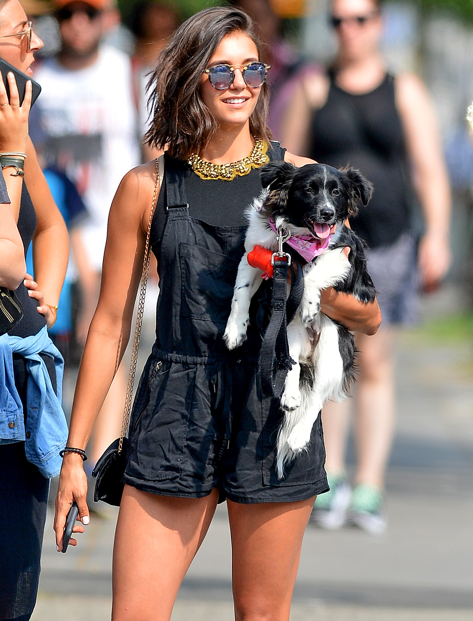 EXCLUSIVE: Nina Dobrev is Spotted Taking Her Dog Maverick for a Walk in New York City