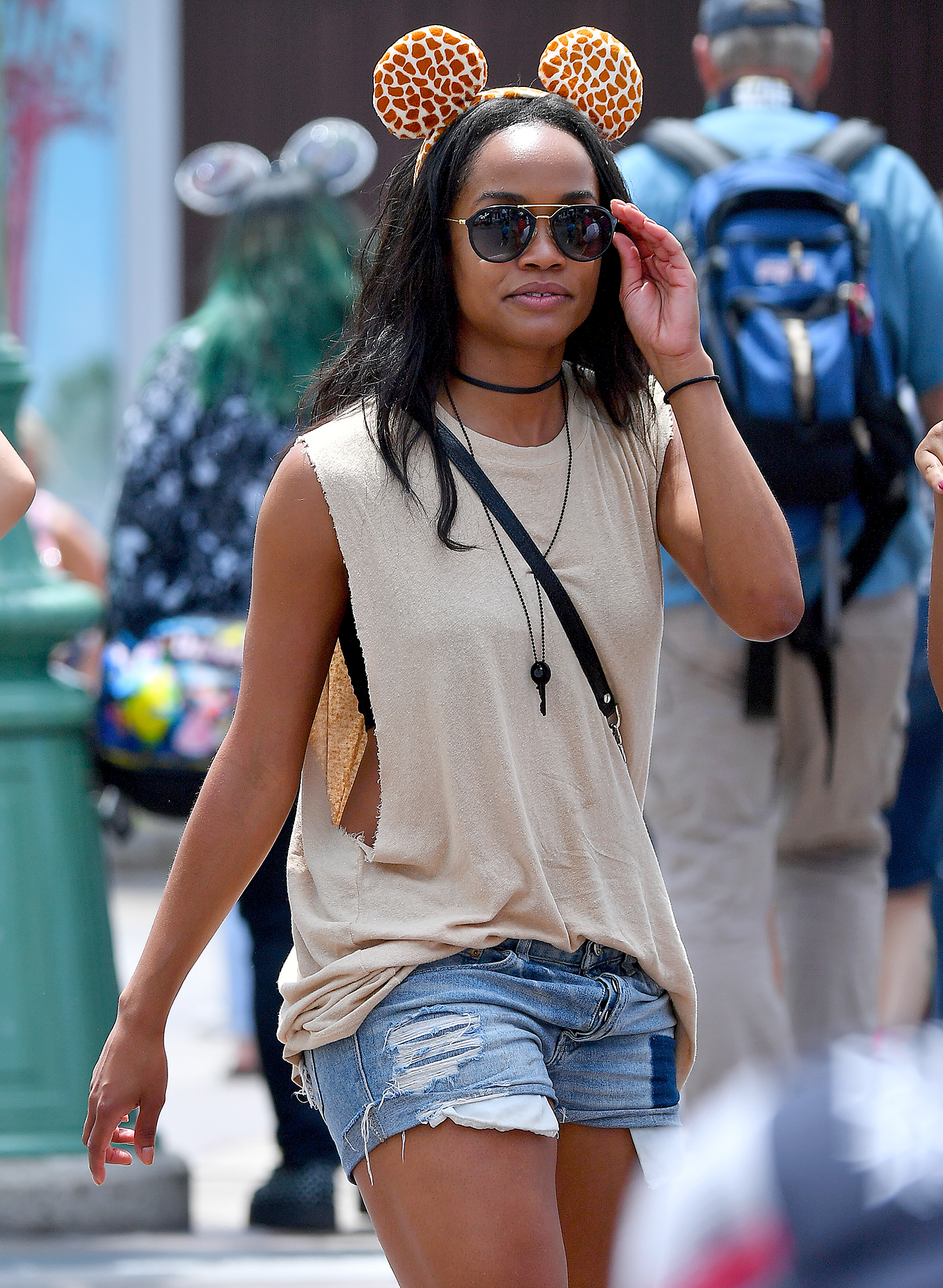 EXCLUSIVE: The Bachelorette Rachel Lindsay wears a pair of mouse ears while at Disneyland with her girlfriends