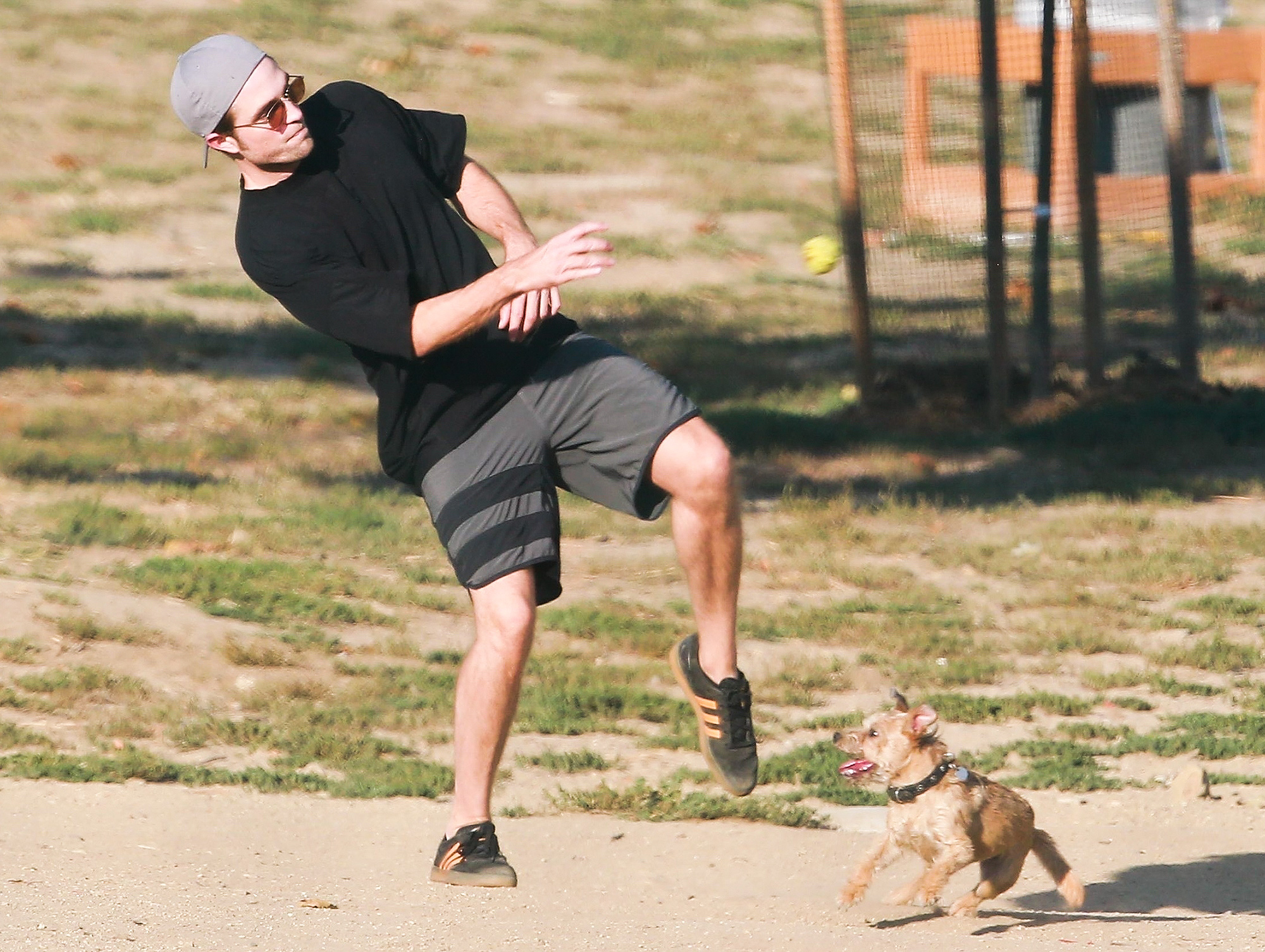 *EXCLUSIVE* Robert Pattinson and his furry friend enjoy an afternoon at the Dog Park