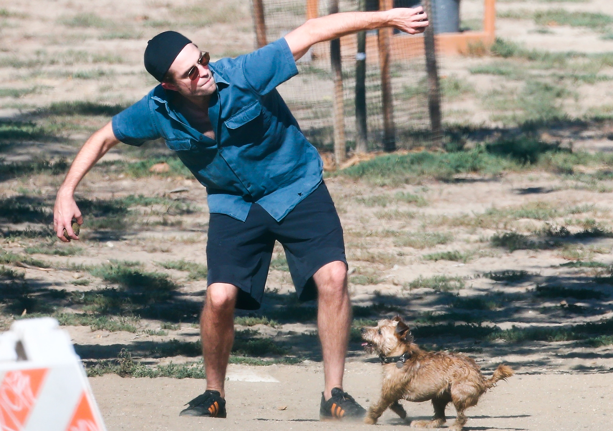 *EXCLUSIVE* Robert Pattinson spends his Monday morning at the dog park