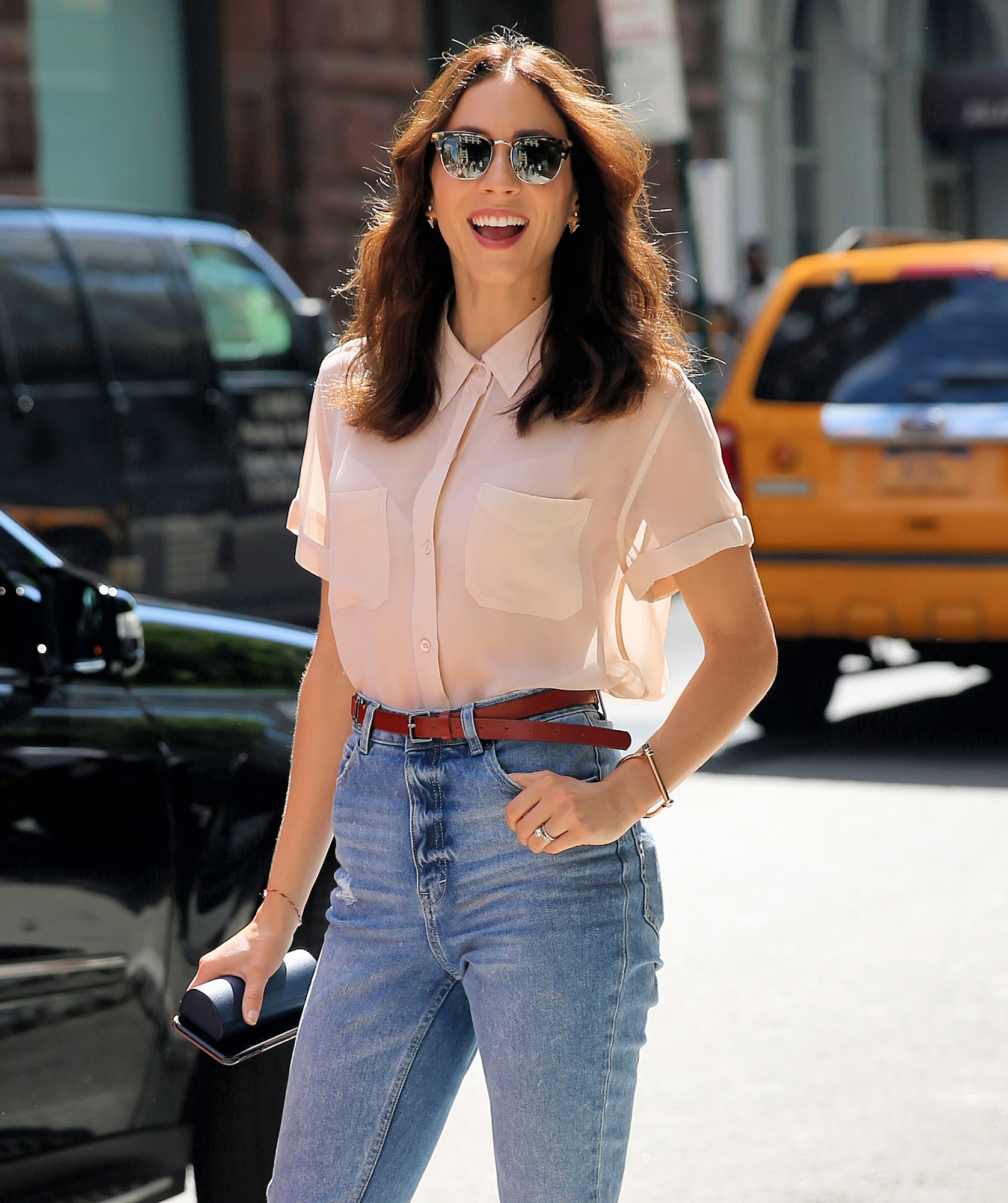 Actress Troian Bellisario arrives at AOL Build Series in New York City