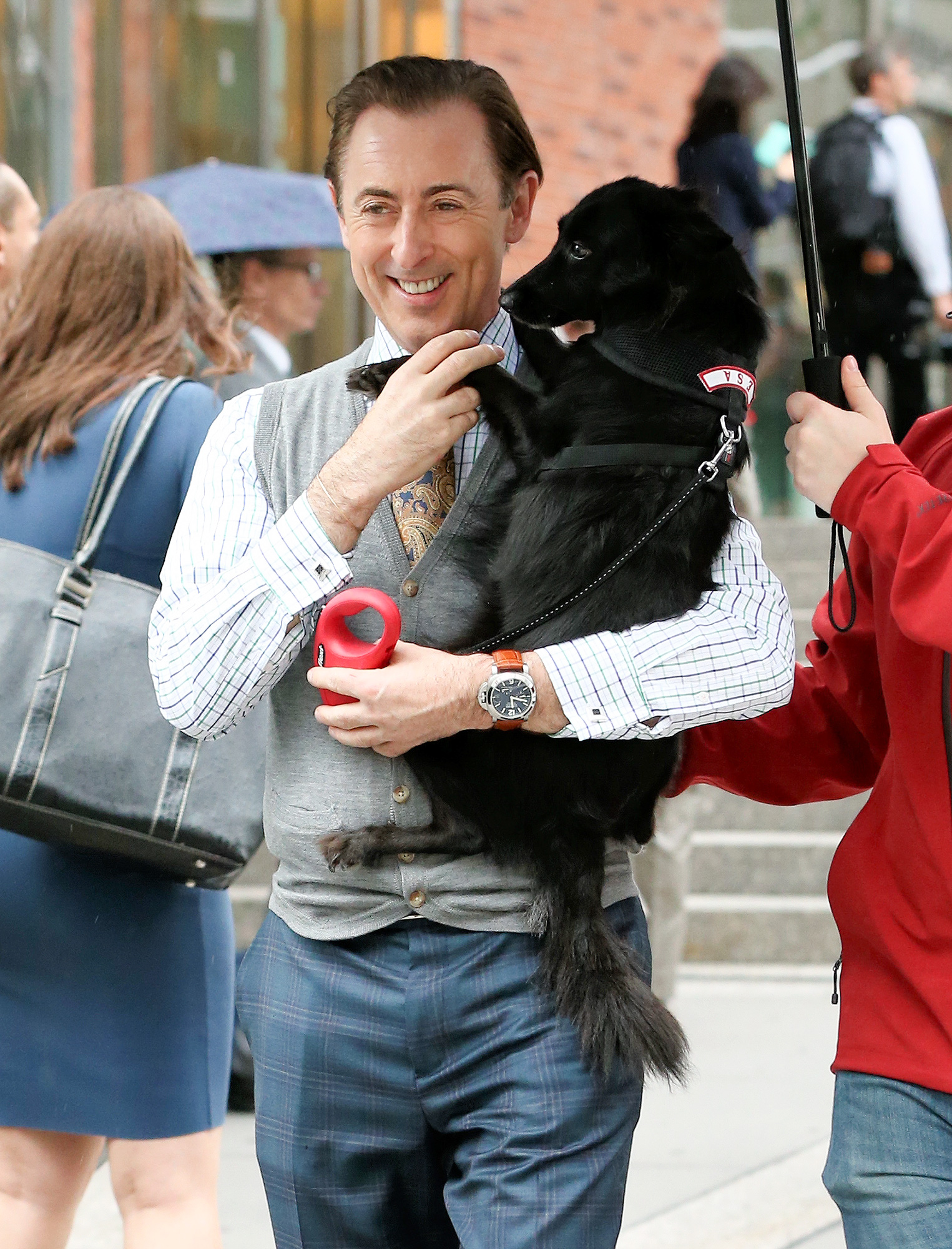 EXCLUSIVE: Actor Alan Cumming gets a surprise visit from his dog Lala on the set of 'Instinct' in New York City!