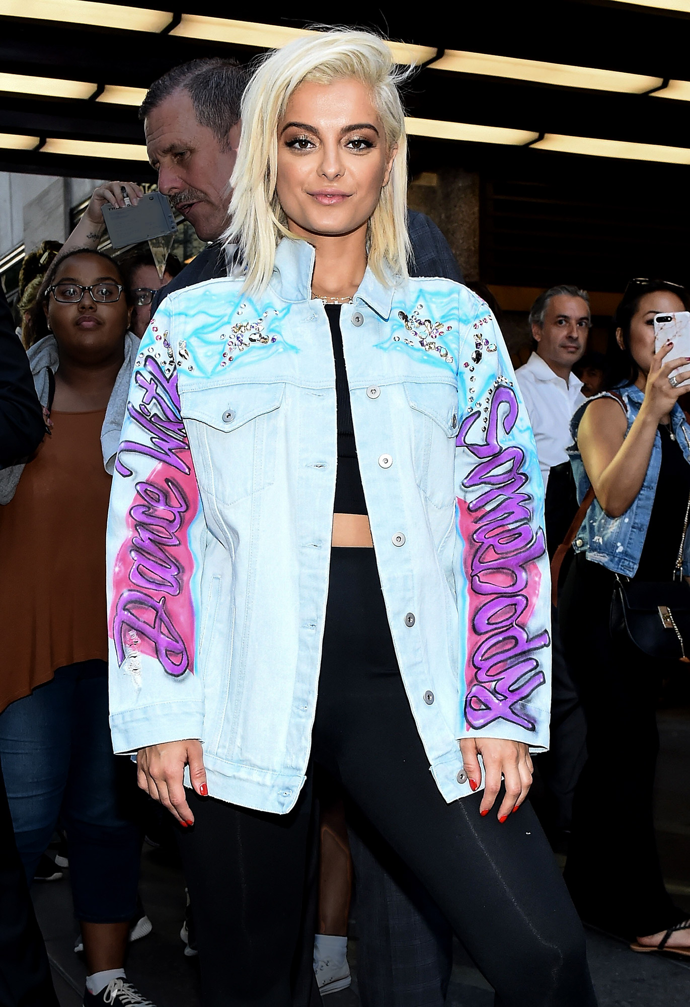 Bebe Rexha Wears Exclusive 'Bebe Rexha For Gilt' Jacket While In New York City