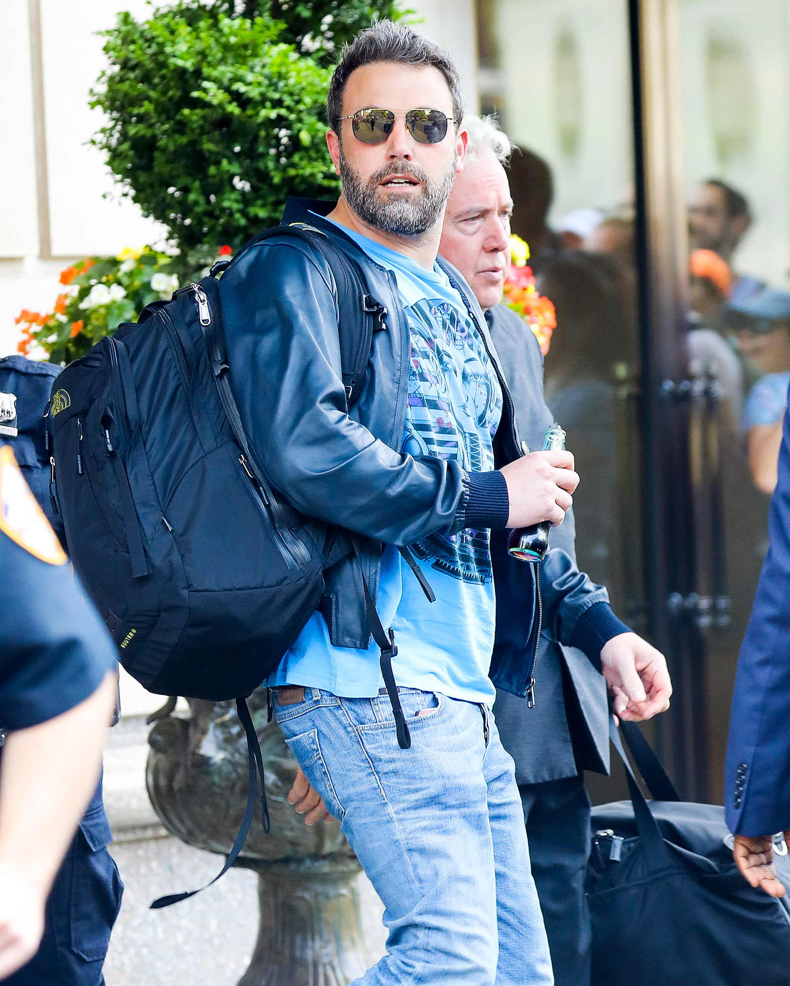 Ben Affleck was seen leaving his hotel while heading to the Airport in New York City