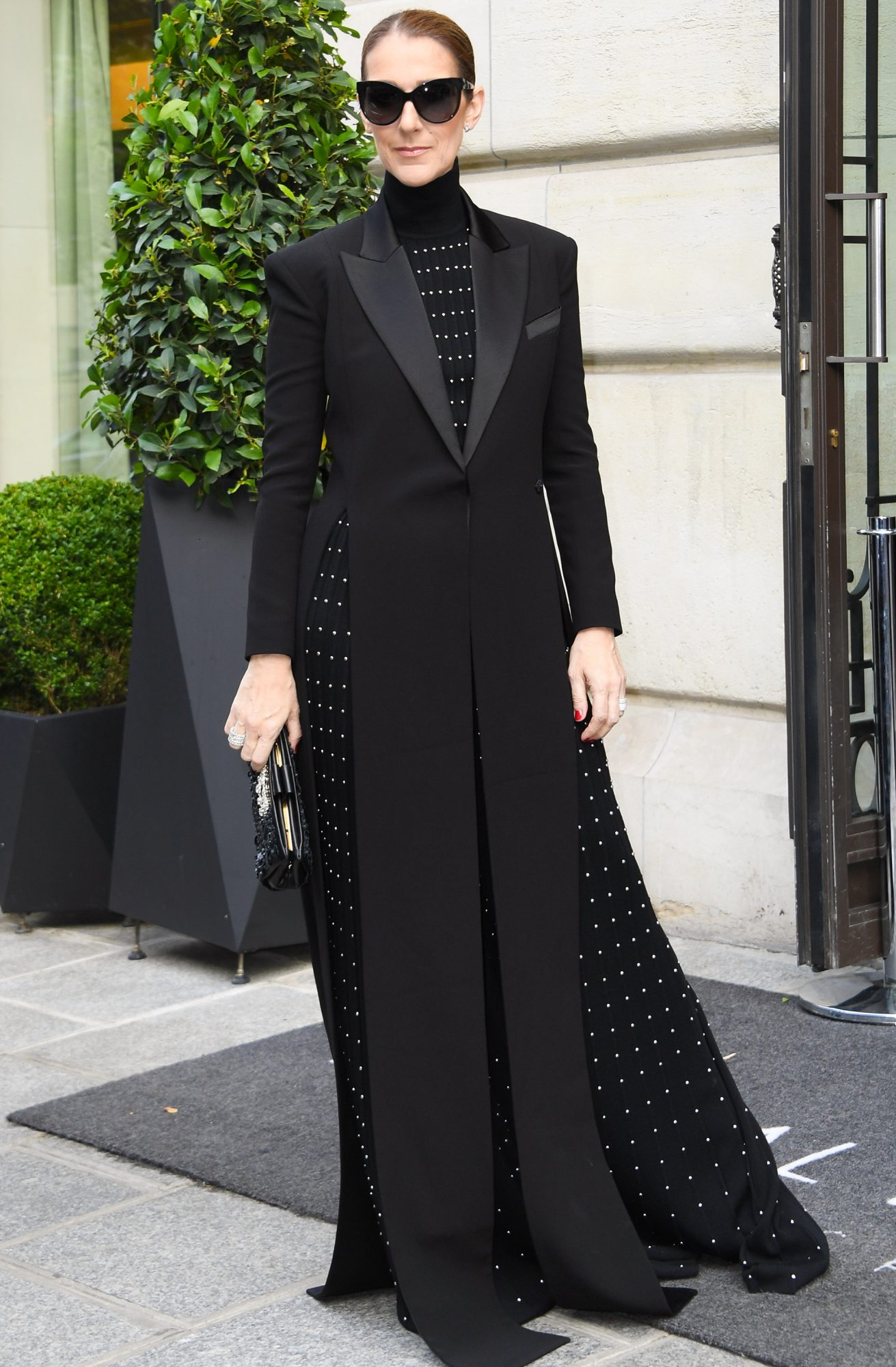 Celine Dion leaves the Royal Monceau hotel in Paris