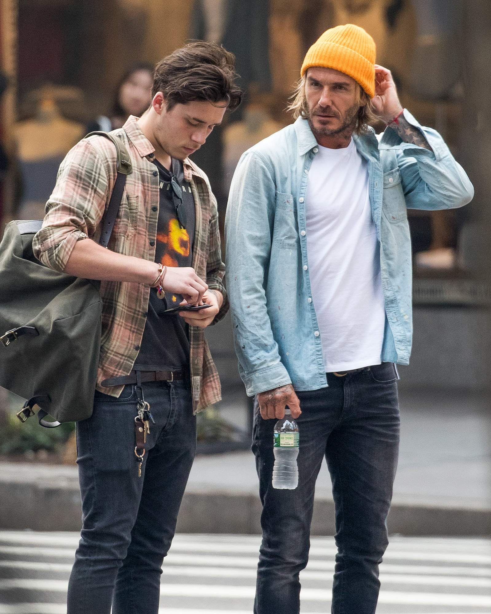EXCLUSIVE: Brooklyn Beckham takes dad to Orientation Day at school