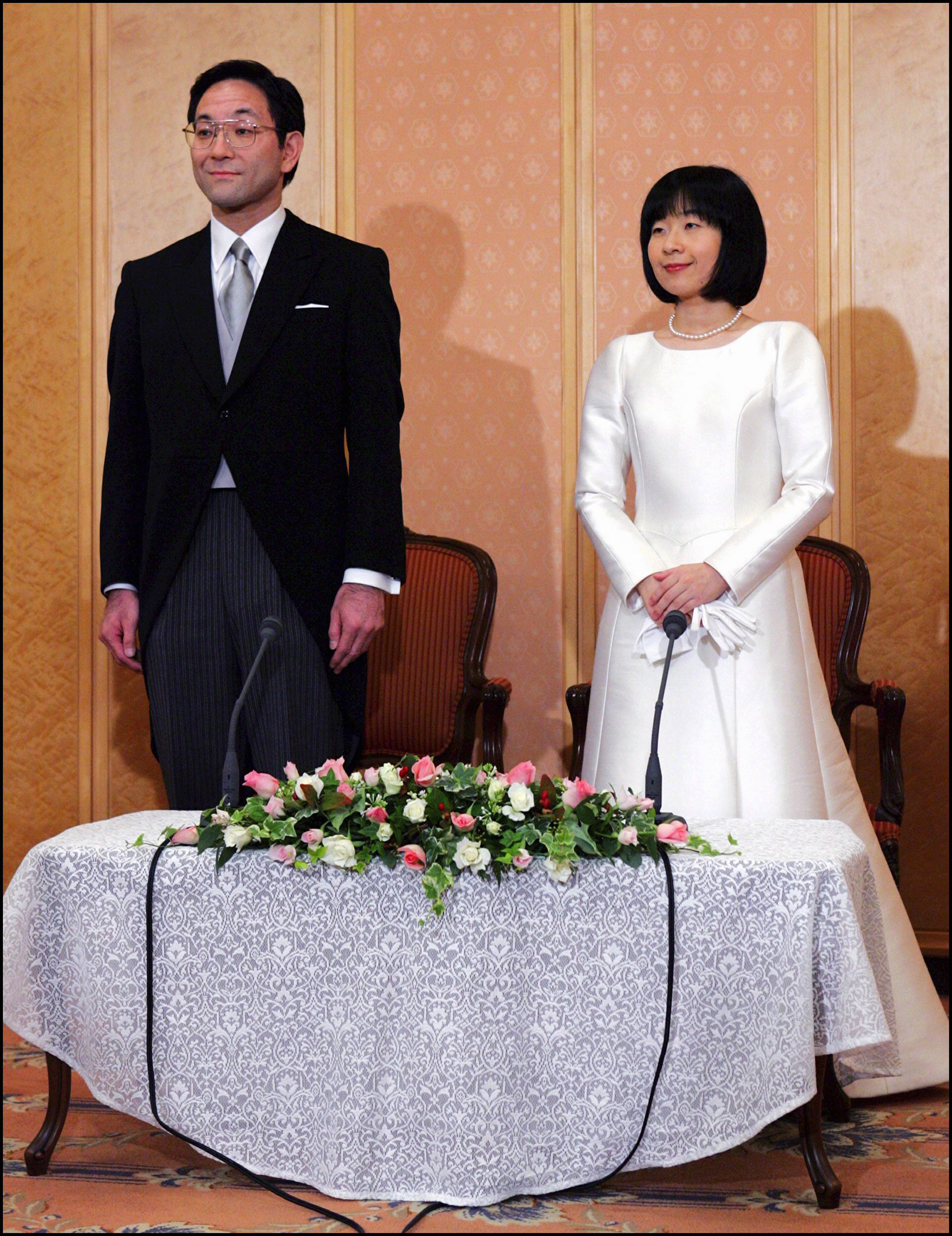 Japan's Emperor's youngest daughter Sayako speaks to reporters after her wedding ceremony in Tokyo, Japan On November 15, 2005 -