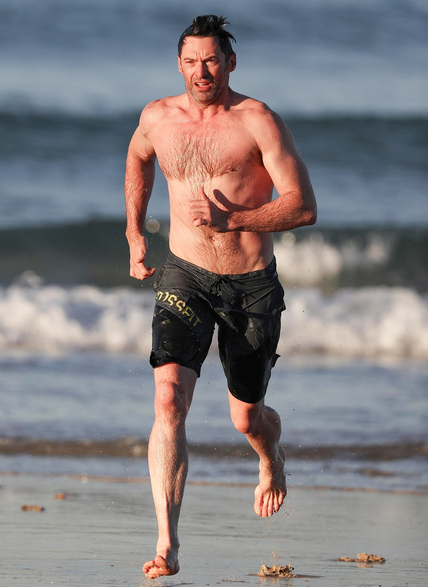 *EXCLUSIVE* Hugh Jackman goes for a dip in Australia