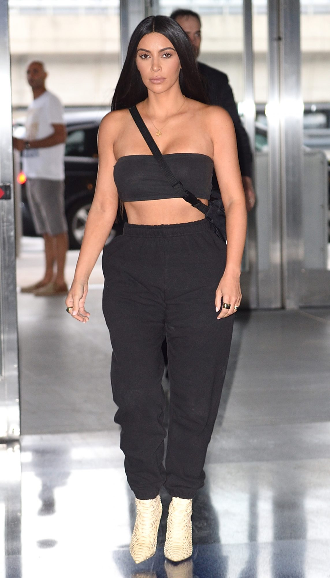 Kim Kardashian catches a flight at JFK airport in NYC.