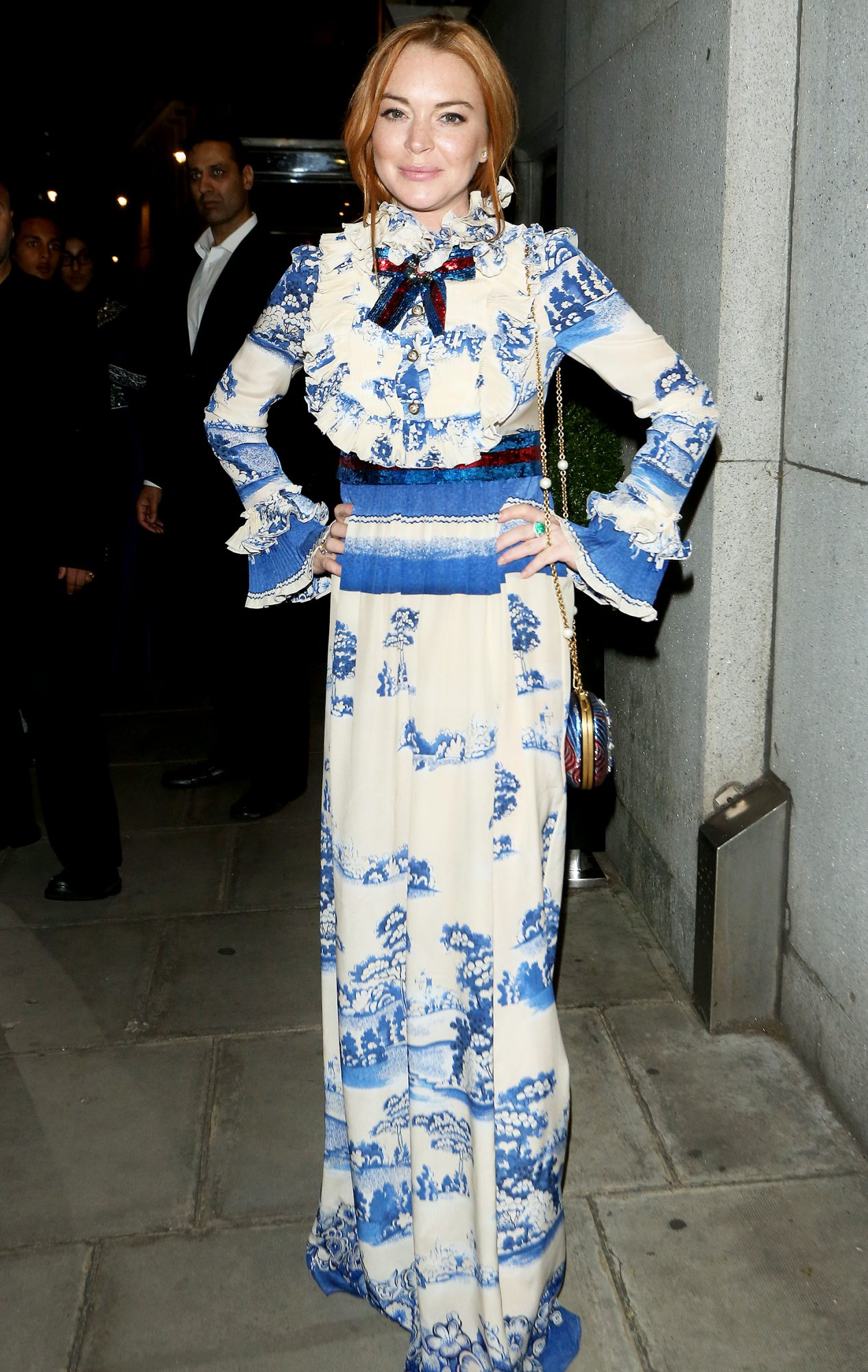 Lindsay Lohan wears �4040 vintage regal Gucci dress to children's charity event in London