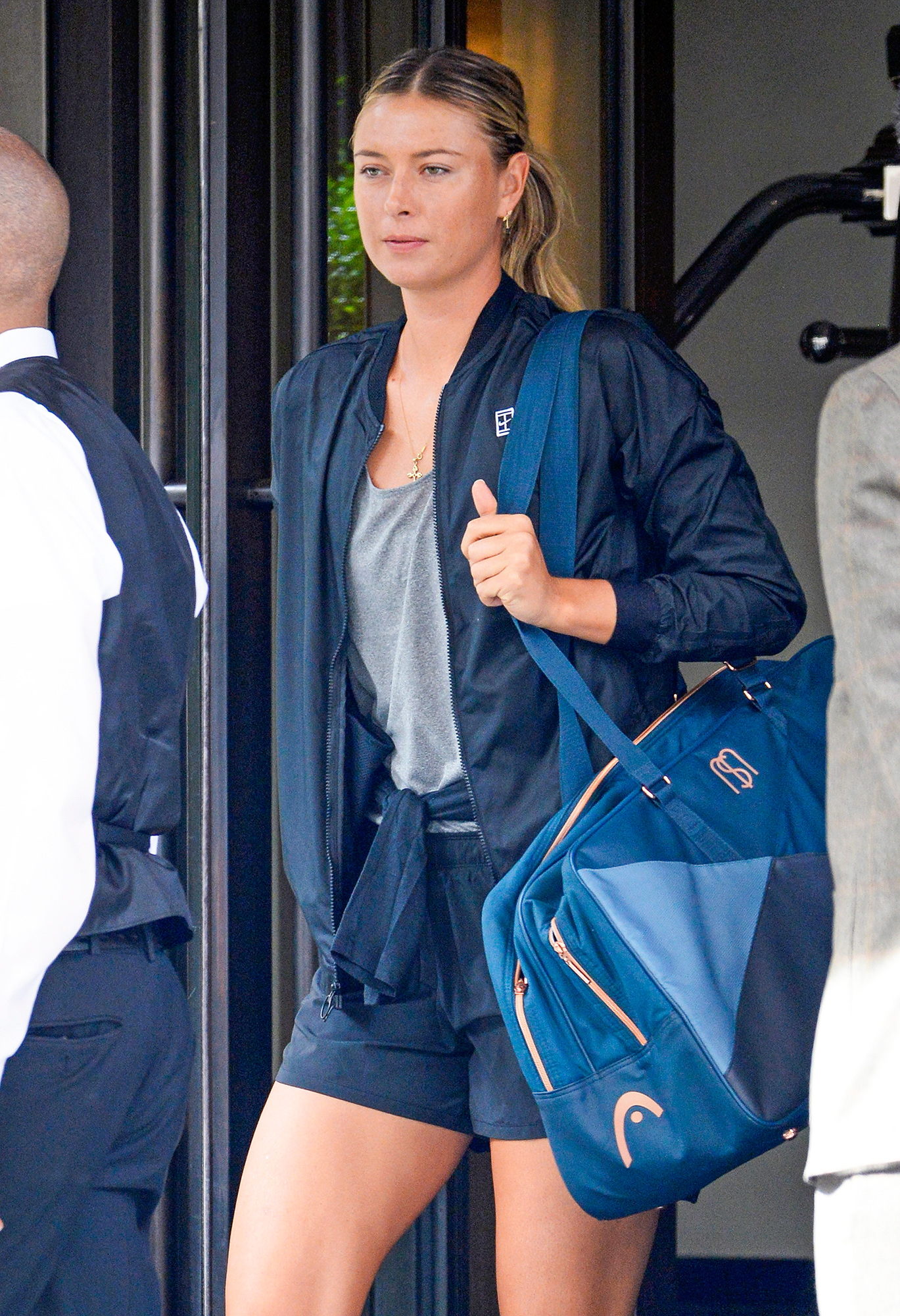 EXCLUSIVE: Maria Sharapova is Spotted as She Exits Her Hotel on Way to Practice at the US Open in Flushing, New York City