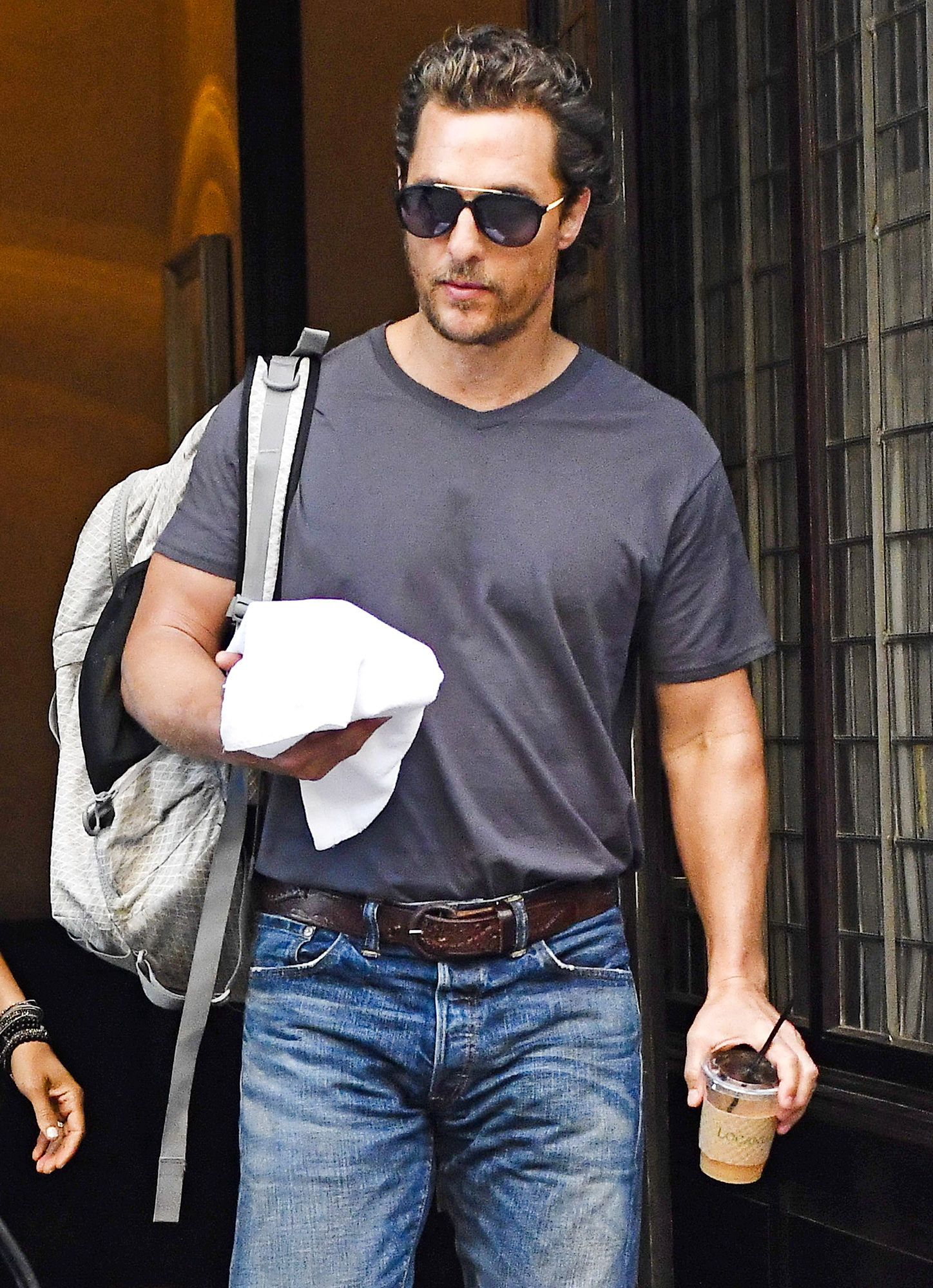 Matthew McConaughey leaves his hotel on his way to an appearance on Good Morning America to promote his new movie The Dark Tower
