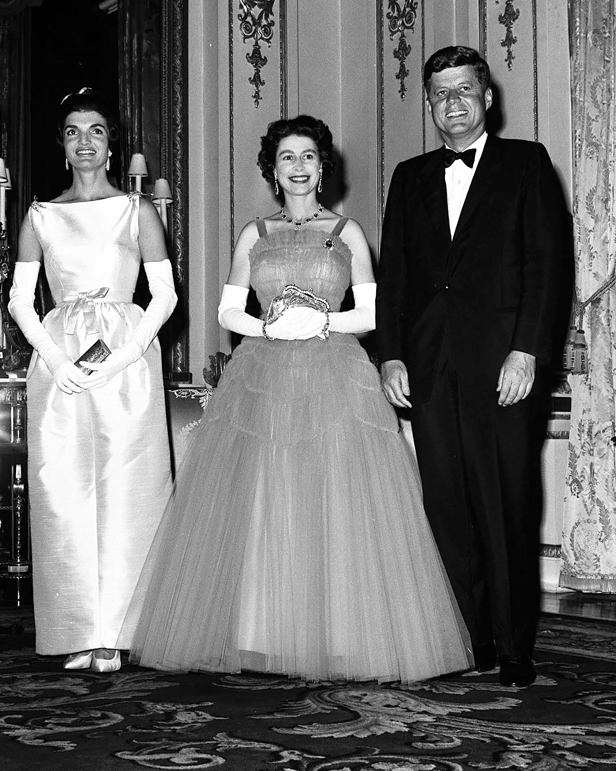 5th, June, 1961, American President, John F Kennedy, with first lady Jaqueline Kennedy, pictured at Buckingham Palace with Queen Elizabeth II