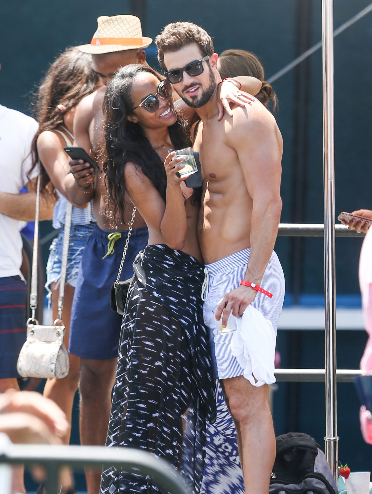 Bachelorette Rachel Lindsay wears a bikini as she celebrates her engagement to Bryan Abasolo in Miami