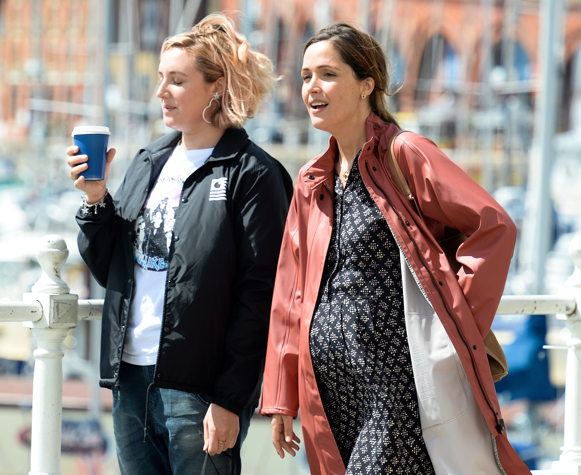 Rose Byrne Wears a Prosthetic Baby Bump on the set of Juliet, Naked