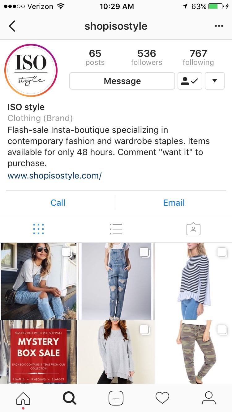 shop iso style insta