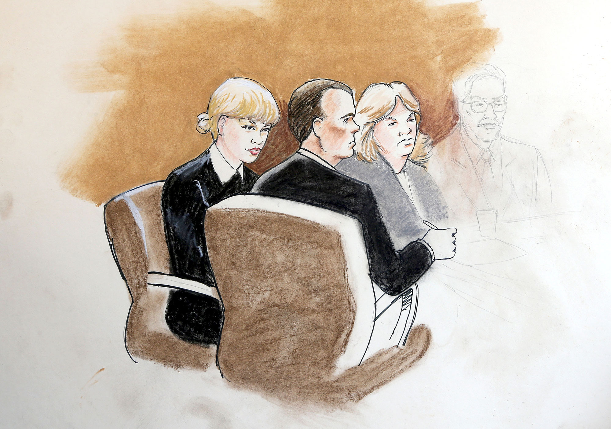 Court sketches of Taylor Swift and David Mueller in court in Denver, Colorado.