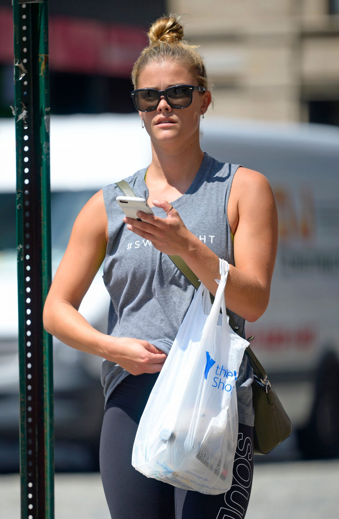 Swipe Right for Nina Agdal seen carrying takeout food after workout in Tribeca, New York City