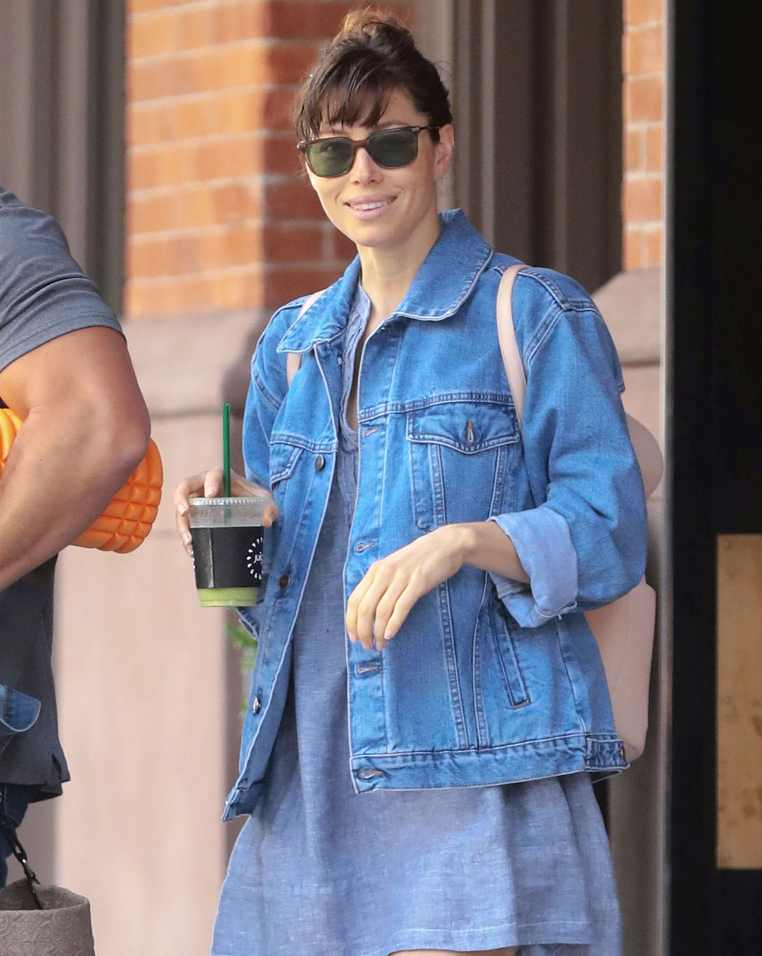 Jessica Biel is all smiles as she starts her day in NYC