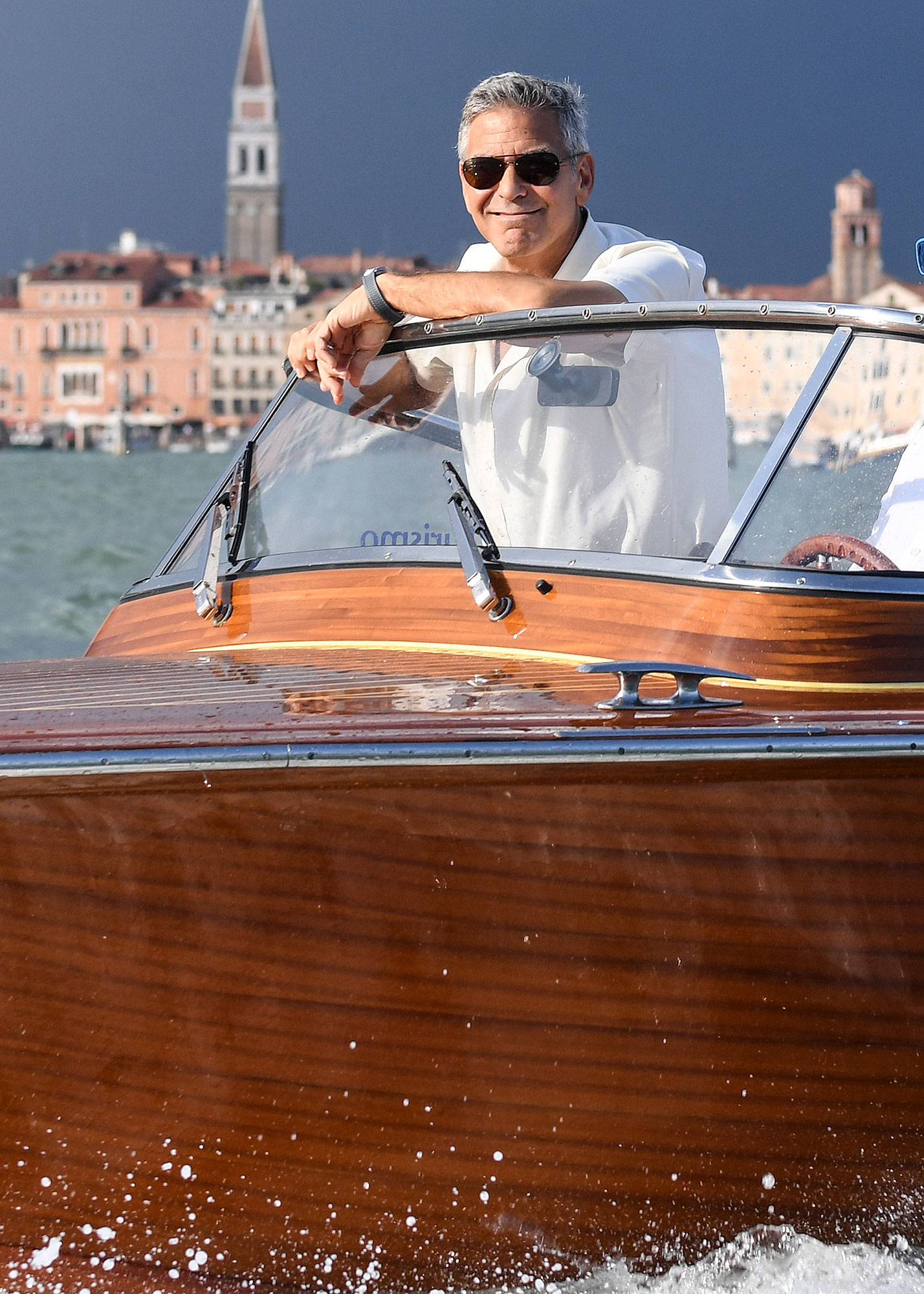 George Clooney spotted on a taxi boat in Venice
