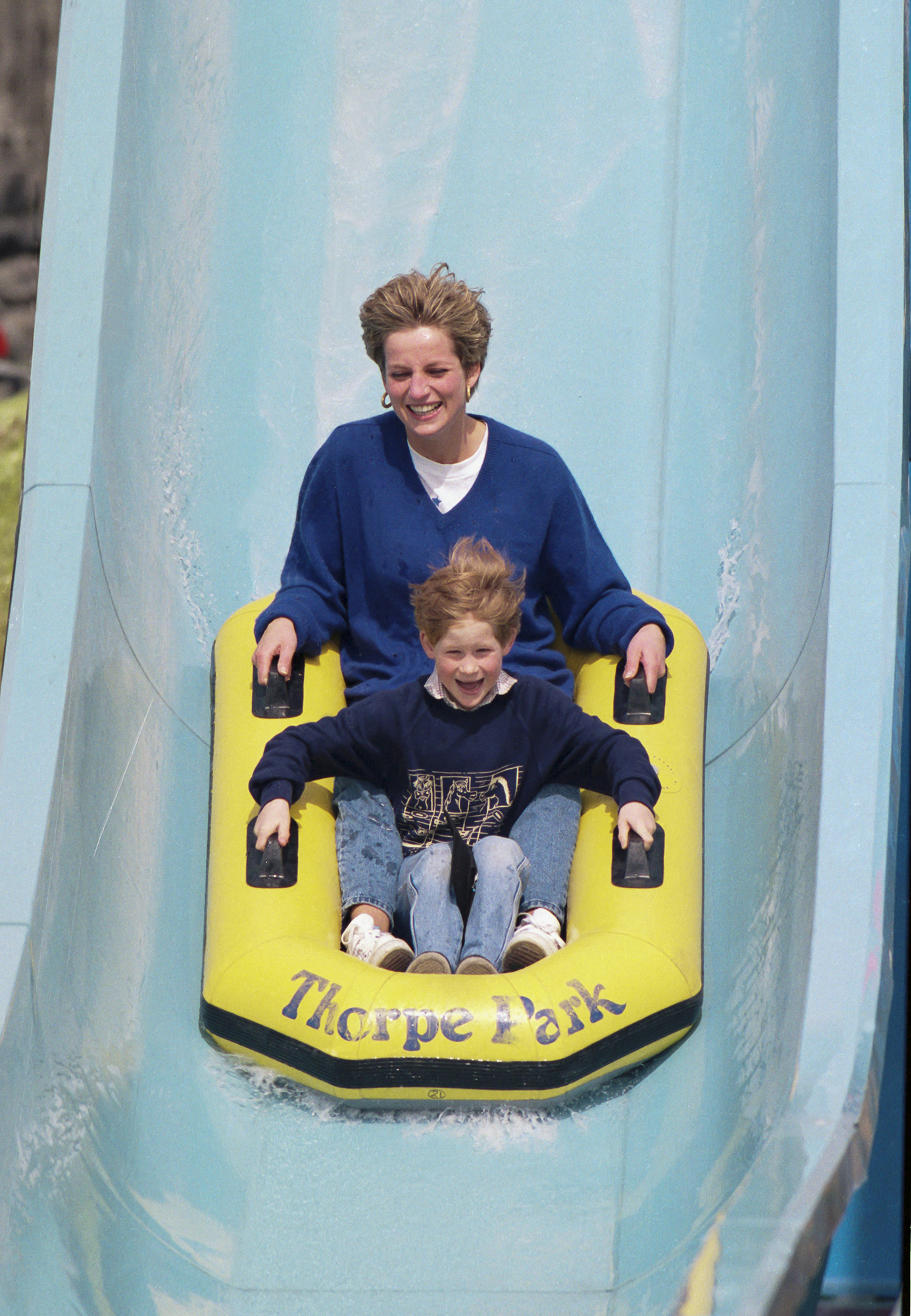 Diana, Princess of Wales, with Prince William, and Prince Harry, at Thorpe Park
