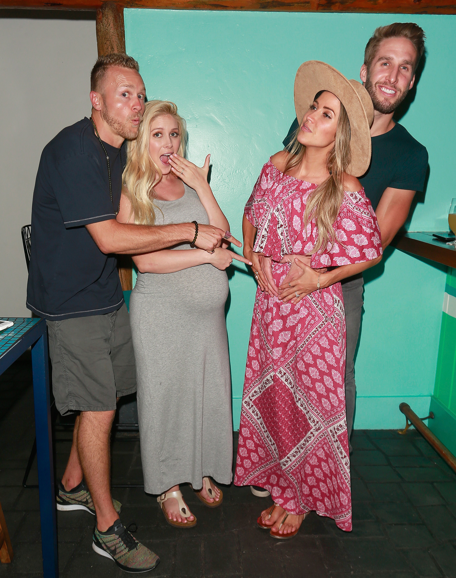 EXCLUSIVE: A pregnant Heidi Montag, Spencer Pratt, Kaitlyn Bristowe, and Shawn Booth are seen having a great time at Tallulah's restaurant in Santa Monica.