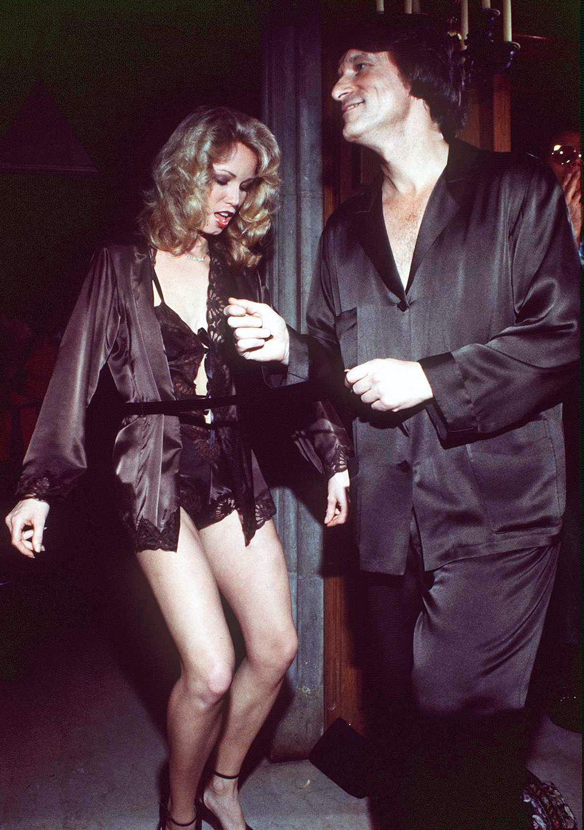 Hugh Hefner And A Girl Dancing At The Playboy Mansion In Beverly Hills