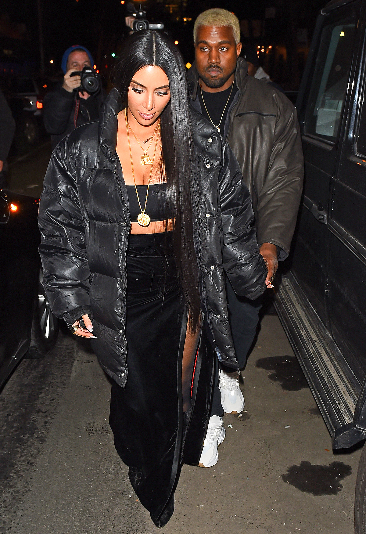 Kim Kardashian & Kanye West are seen dining at Cabone restaurant in New York for a Valentines day meal.