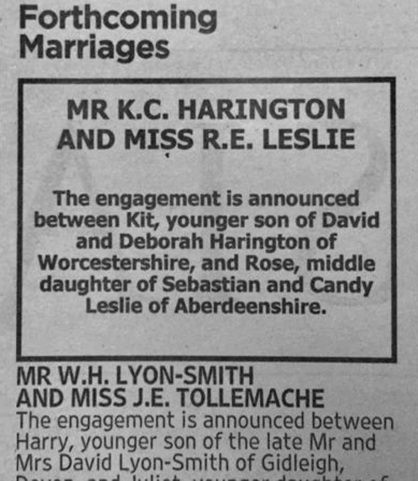 Kit Harington and Rose Leslie's engagement was announced in the Times newspaper