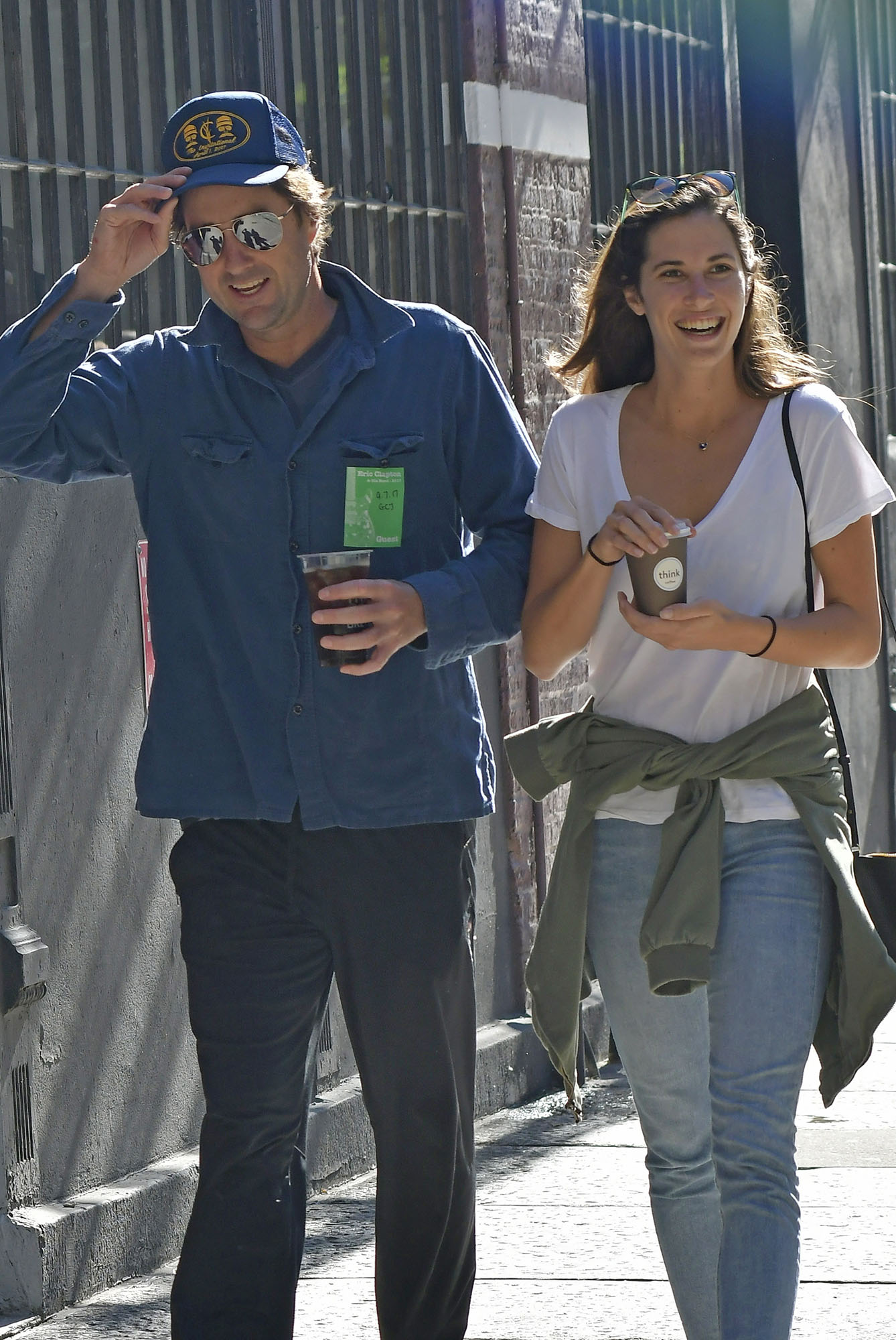 Luke Wilson goes on a coffee run at THink Coffee with his new girlfriend in the East Village, New York City