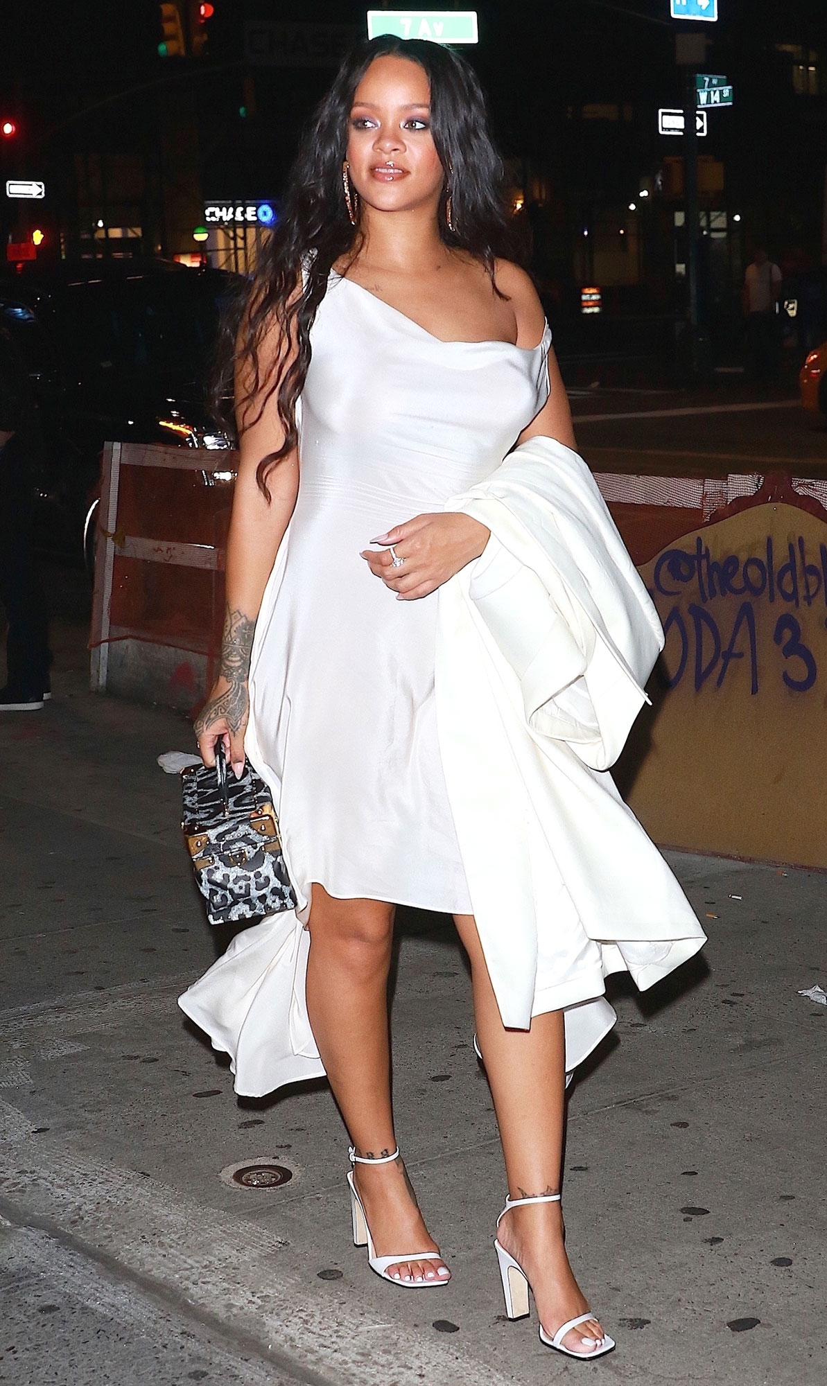 Rihanna looks angelic in all white as she leaves her Diamond Ball afterparty at 1OAK